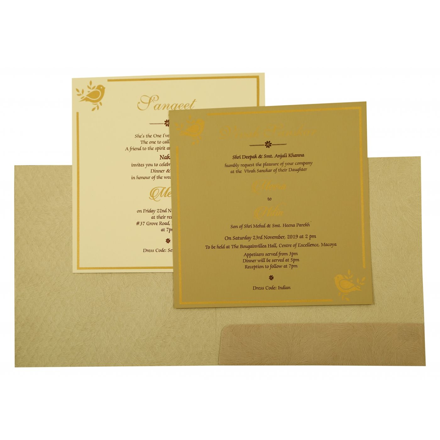 GREY MATTE FOIL STAMPED WEDDING INVITATION : CD-1885 - IndianWeddingCards