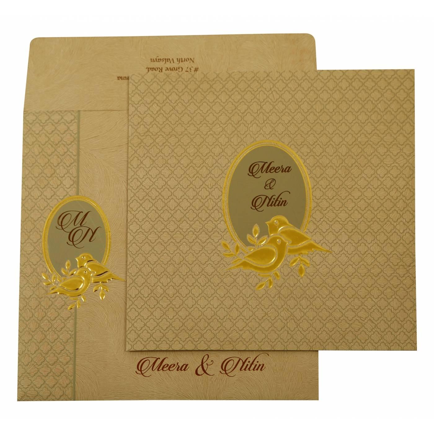 GREY MATTE FOIL STAMPED WEDDING INVITATION : CS-1885 - IndianWeddingCards