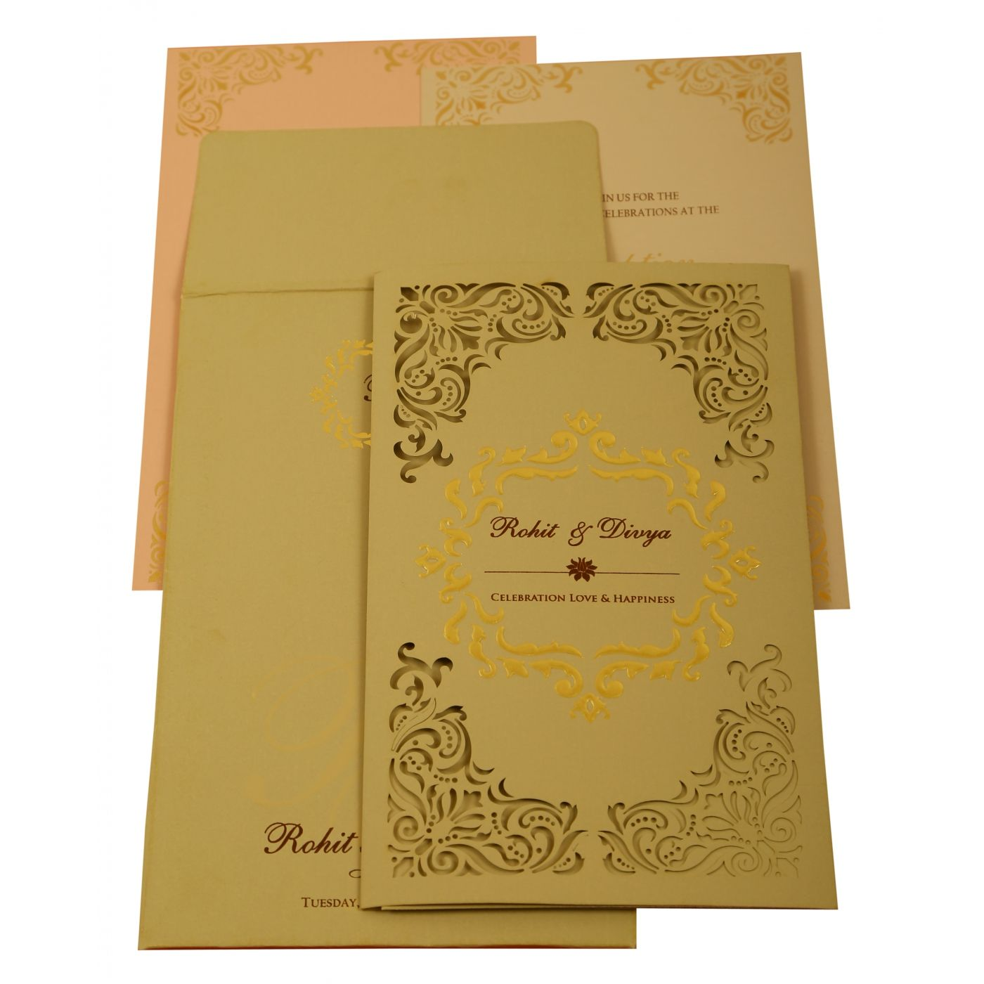 GREY MATTE LASER CUT WEDDING INVITATION : CD-1908 - IndianWeddingCards