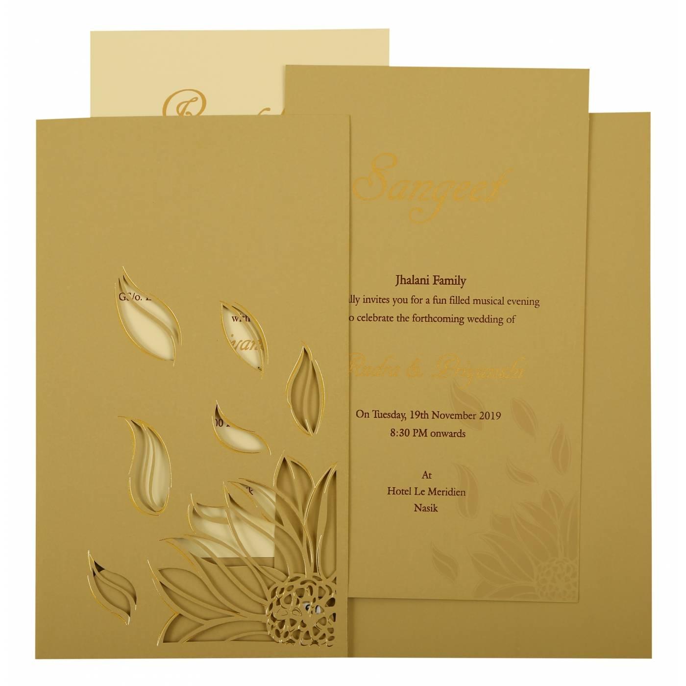 GREY MATTE LASER CUT WEDDING INVITATION : CS-1925 - IndianWeddingCards