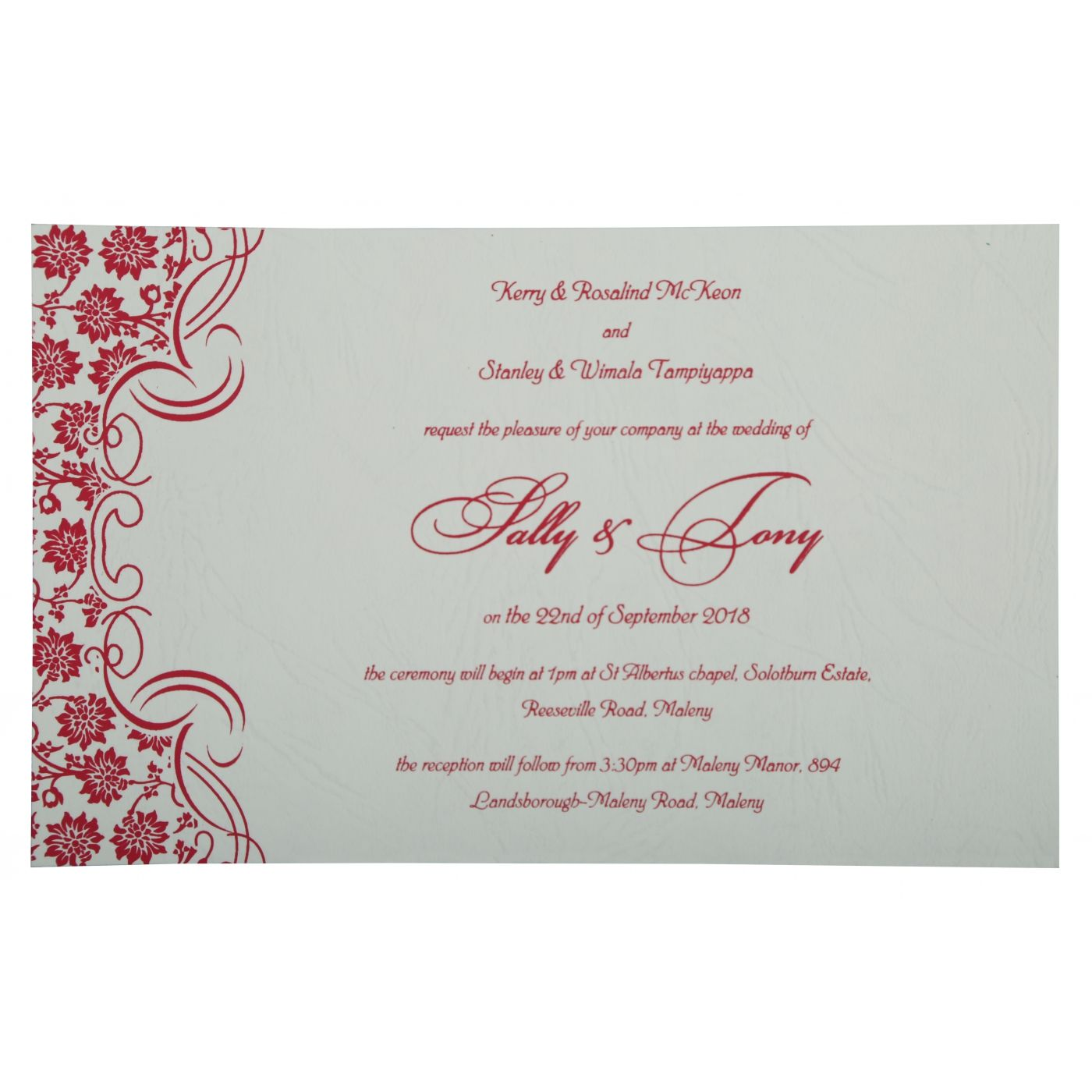 HOT PINK MATTE FLORAL THEMED - SCREEN PRINTED WEDDING INVITATION : CD-810B - IndianWeddingCards