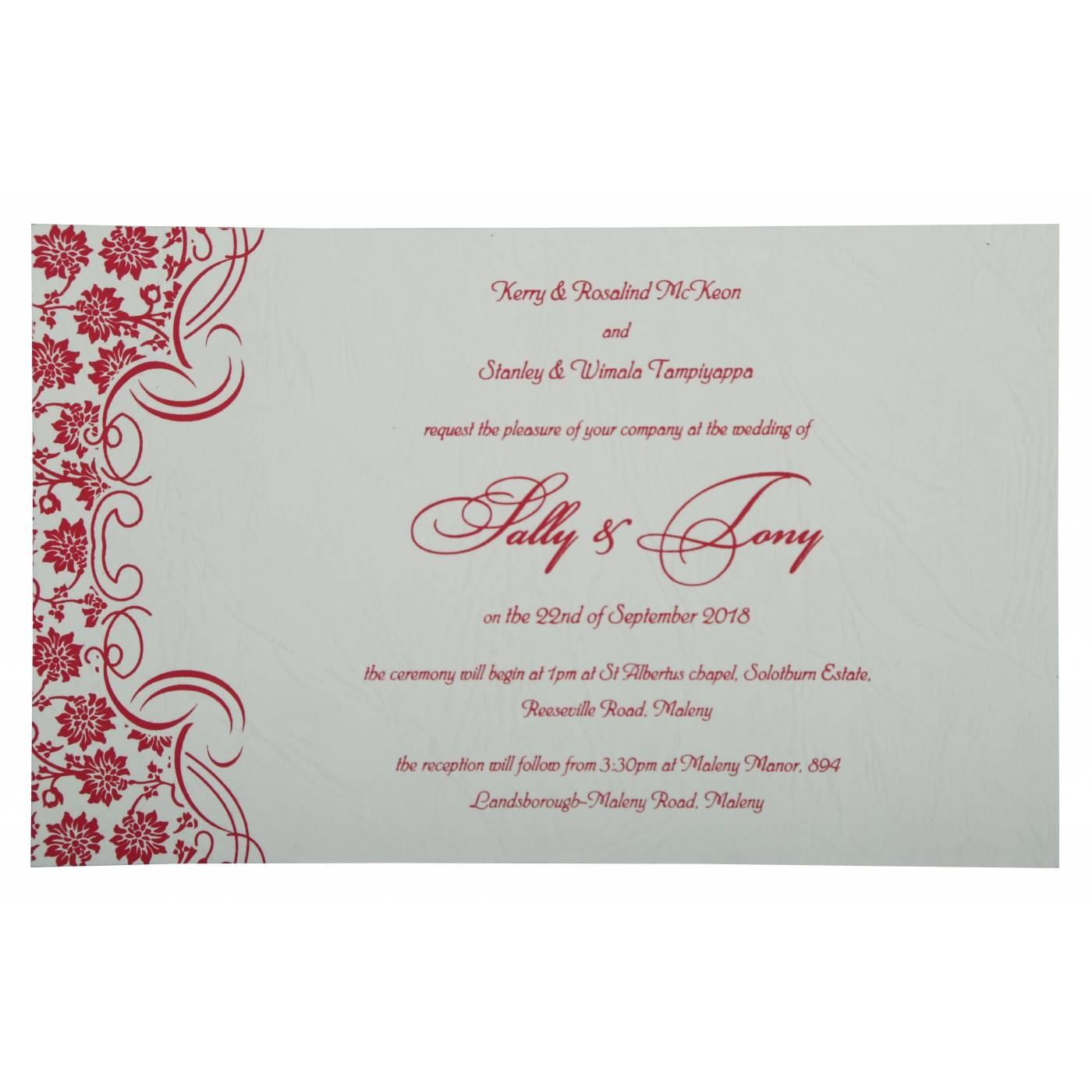 HOT PINK MATTE FLORAL THEMED - SCREEN PRINTED WEDDING INVITATION : CG-810B - IndianWeddingCards
