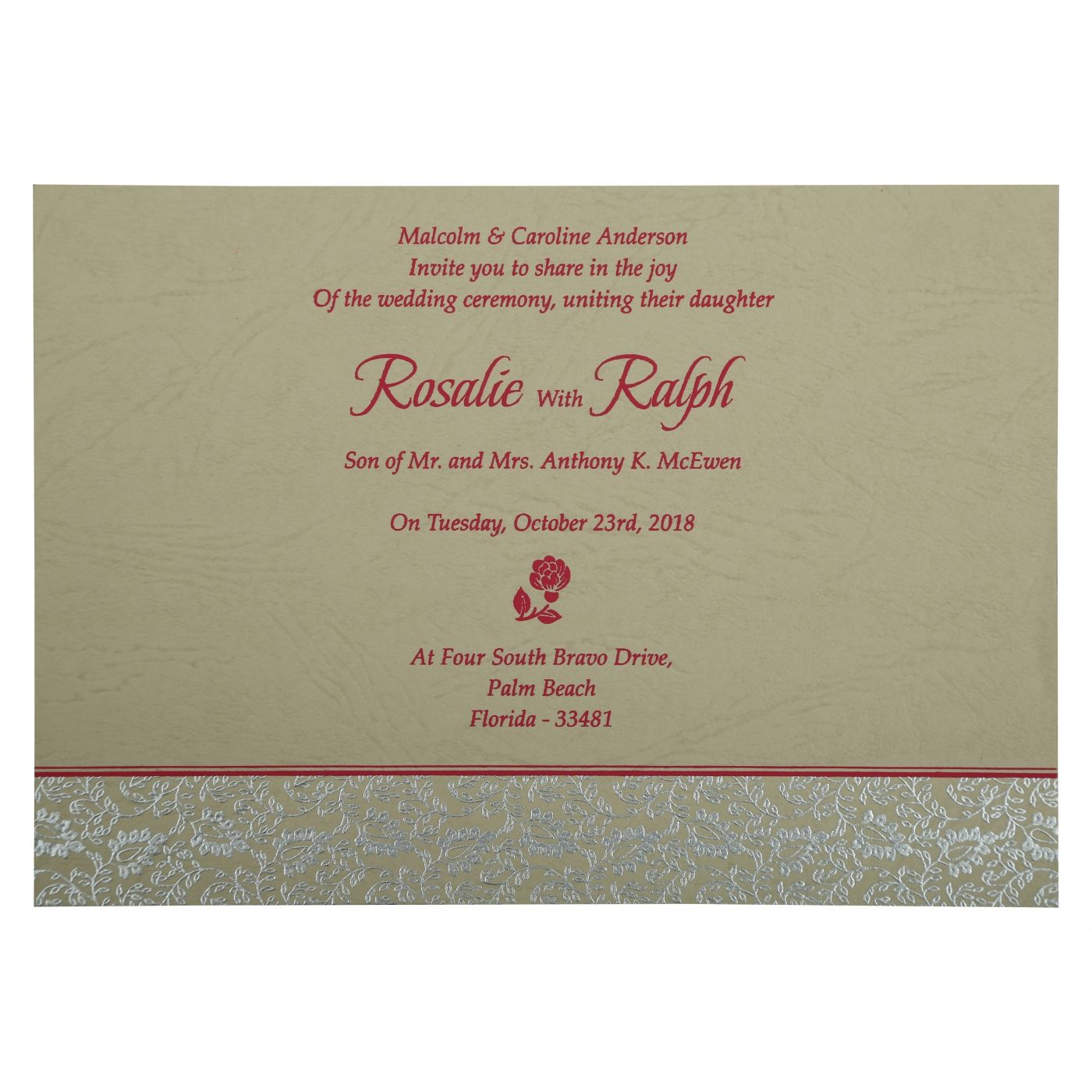 HOT PINK MATTE PAISLEY THEMED - SCREEN PRINTED WEDDING INVITATION : C-G-811E - IndianWeddingCards