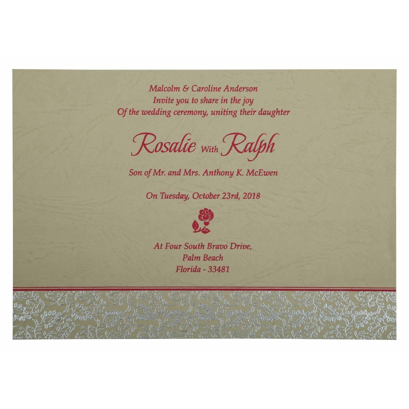HOT PINK MATTE PAISLEY THEMED - SCREEN PRINTED WEDDING INVITATION : CRU-811E - IndianWeddingCards