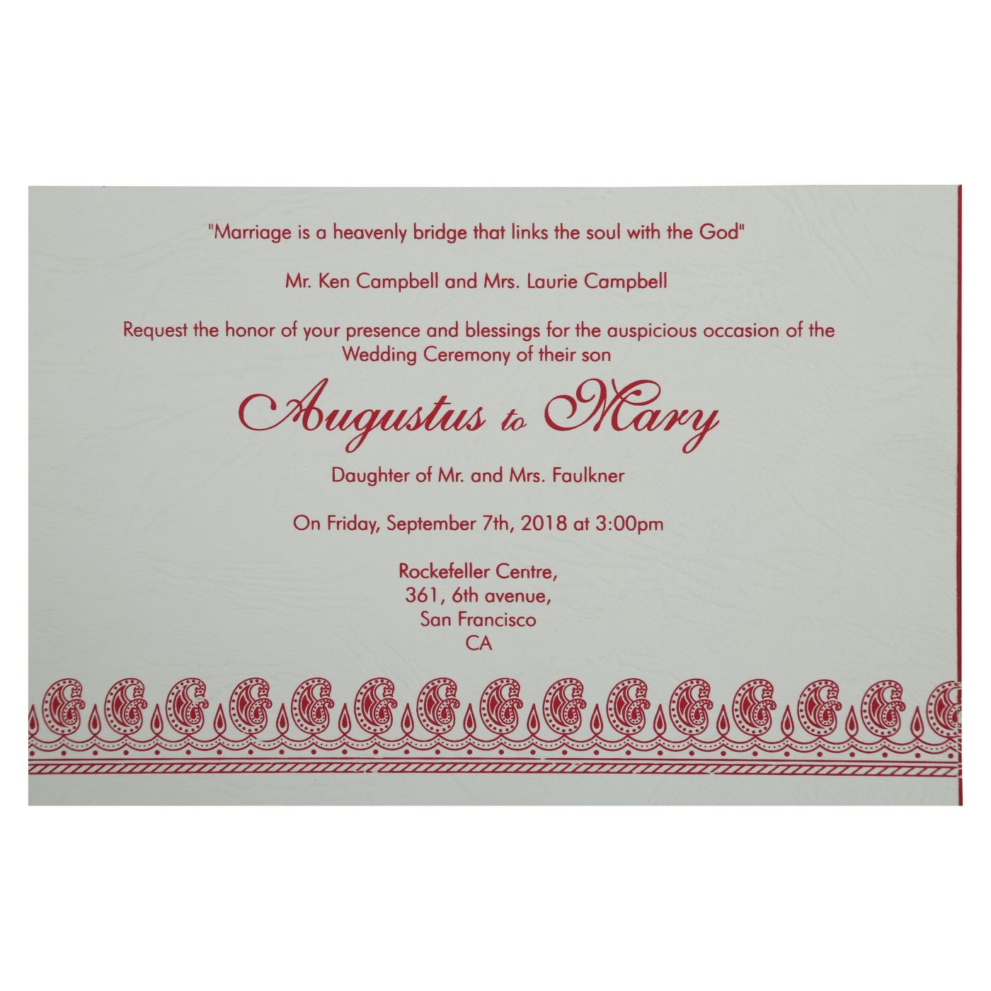 HOT PINK MATTE PAISLEY THEMED - SCREEN PRINTED WEDDING INVITATION : CW-807A - IndianWeddingCards