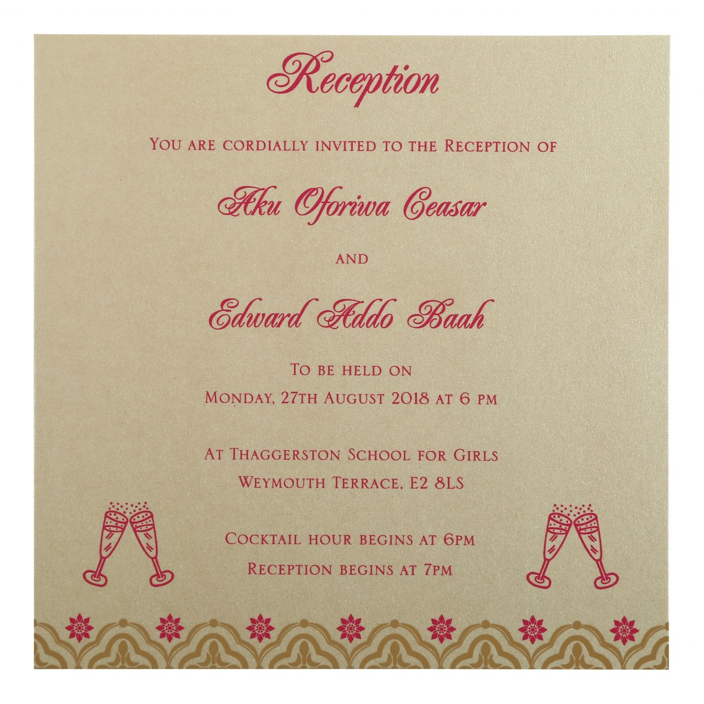 HOT PINK SHIMMERY SCREEN PRINTED WEDDING INVITATION : CI-805A - IndianWeddingCards