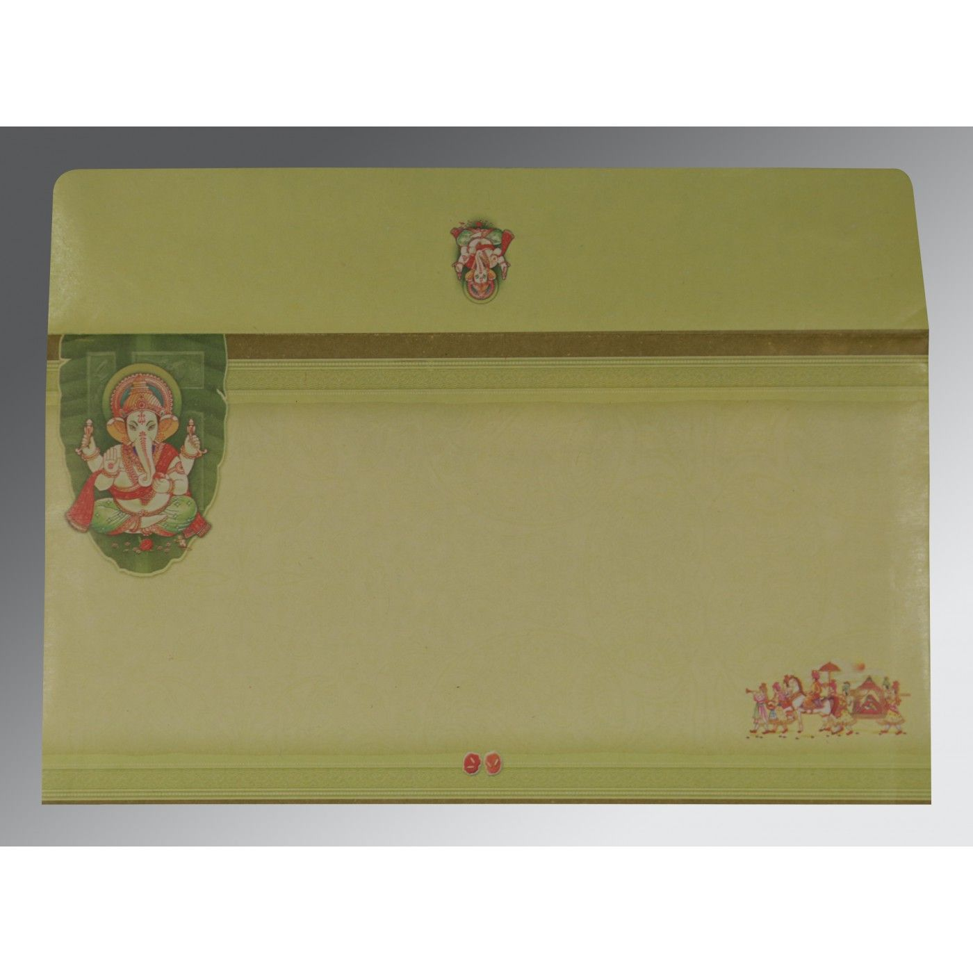 LIGHT GREEN EMBOSSED WEDDING CARD : CIN-2226 - IndianWeddingCards