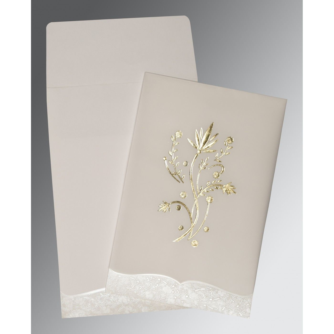 OFF-WHITE FLORAL THEMED - FOIL STAMPED WEDDING CARD : CRU-1495 - IndianWeddingCards