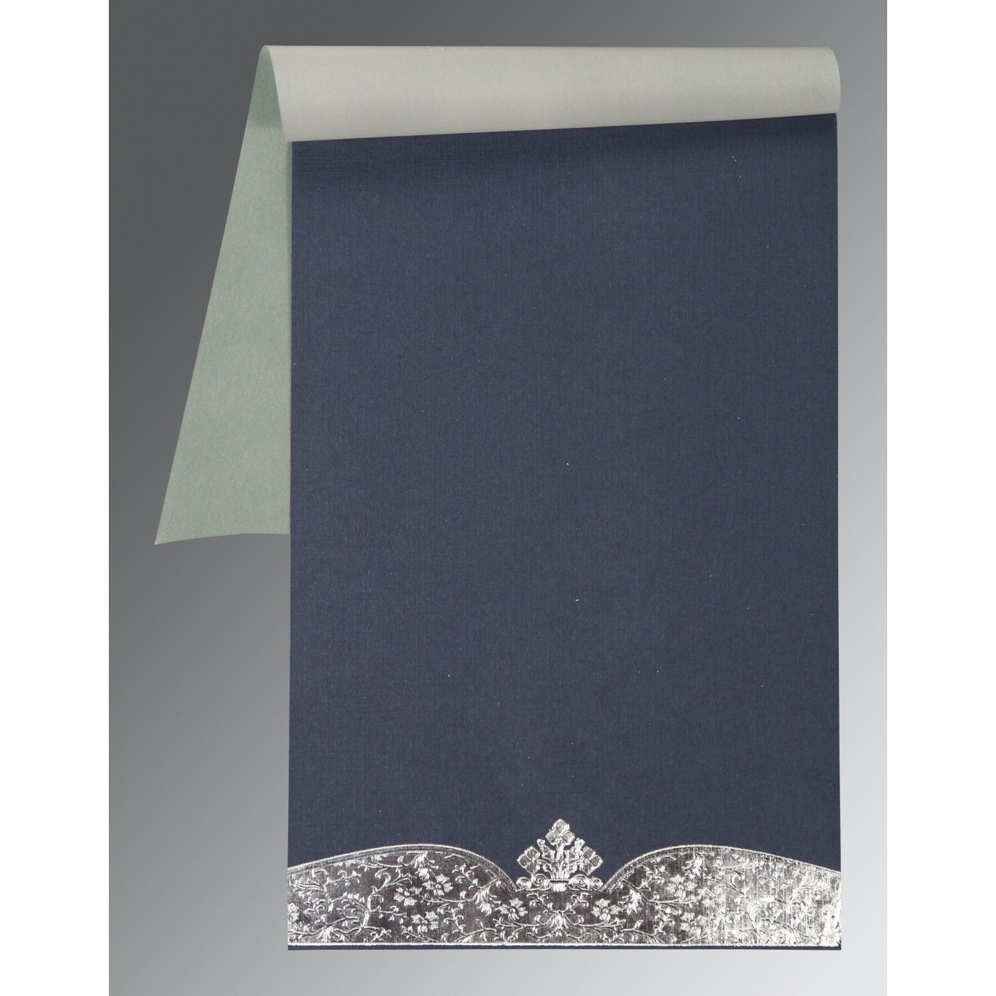 COBALT BLUISH GREY FOIL EMBOSSED WEDDING INVITATION : CW-2279 - IndianWeddingCards