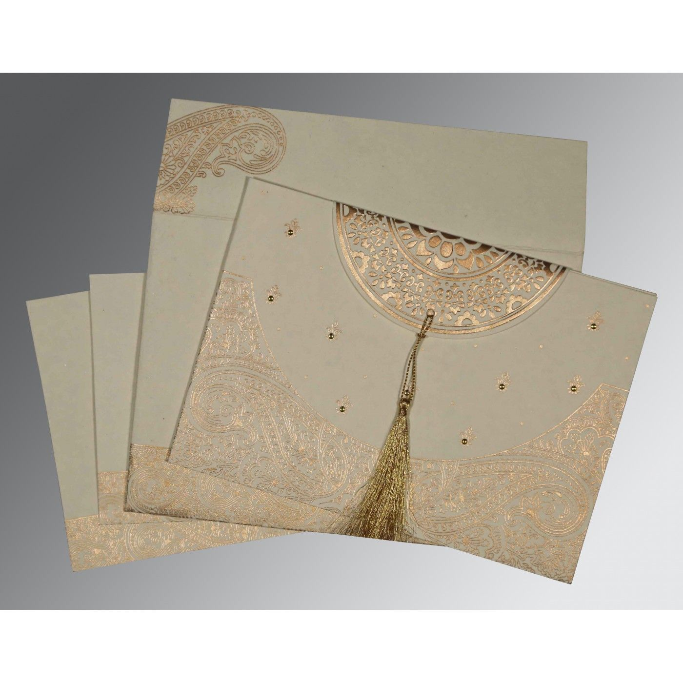 IVORY HANDMADE COTTON EMBOSSED WEDDING CARD : CRU-8234B - IndianWeddingCards