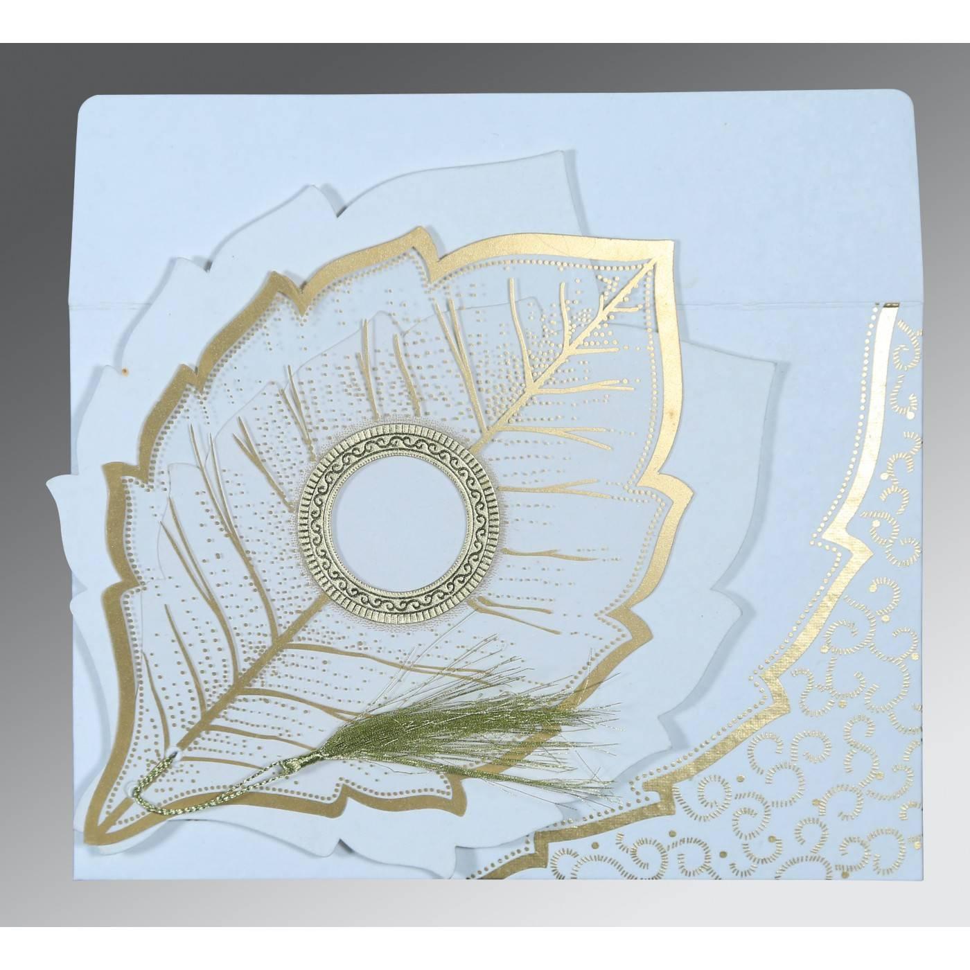 WHITE TRANSPARENT HANDMADE COTTON FLORAL THEMED - FOIL STAMPED WEDDING CARD : CRU-8219H - IndianWeddingCards