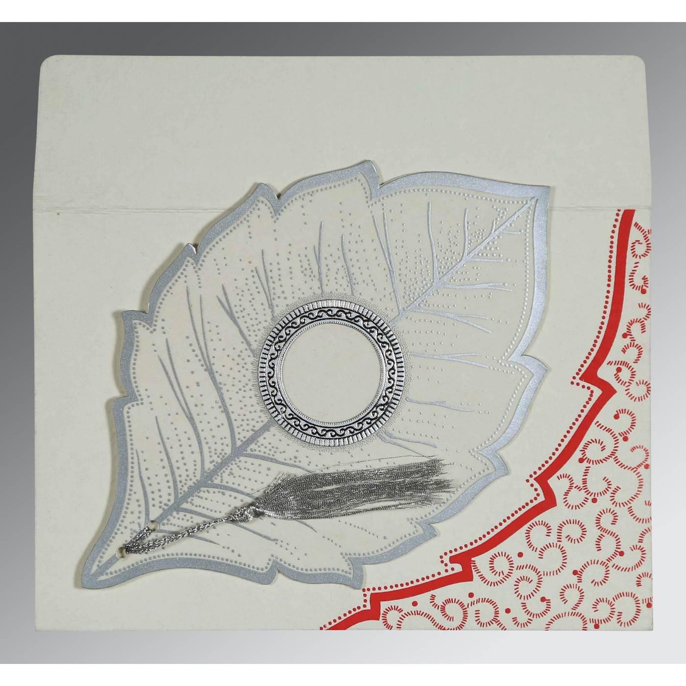 BEIGE HANDMADE COTTON FLORAL THEMED - FOIL STAMPED WEDDING CARD : CRU-8219L - IndianWeddingCards