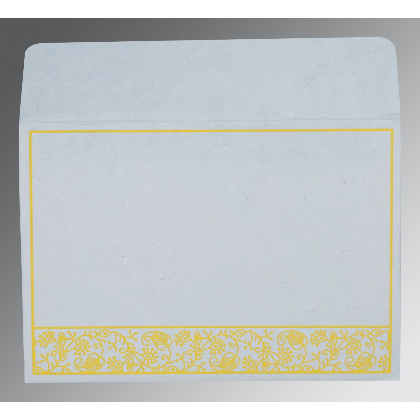 WHITE HANDMADE SILK SCREEN PRINTED WEDDING CARD : CD-8215H - IndianWeddingCards