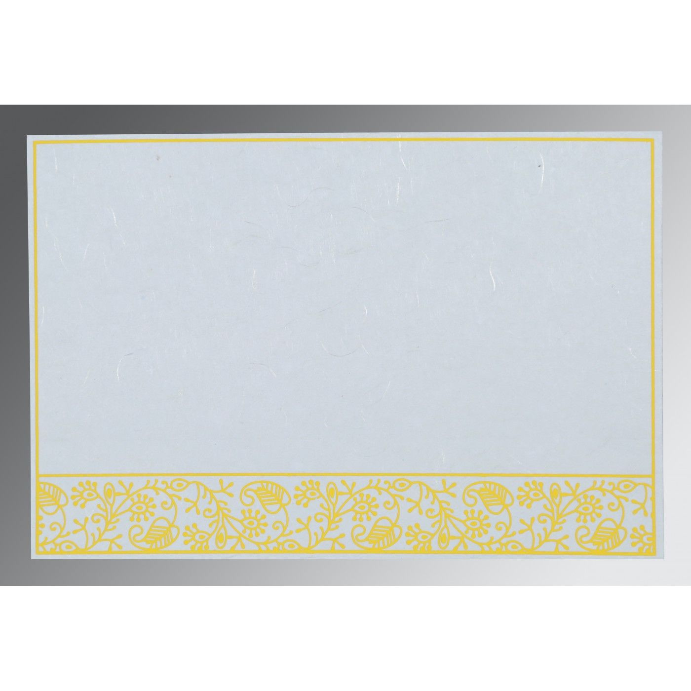 WHITE HANDMADE SILK SCREEN PRINTED WEDDING CARD : CRU-8215H - IndianWeddingCards