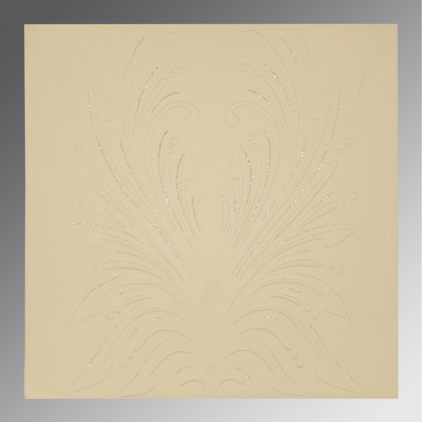 IVORY MATTE EMBOSSED WEDDING INVITATION : CD-1188 - IndianWeddingCards