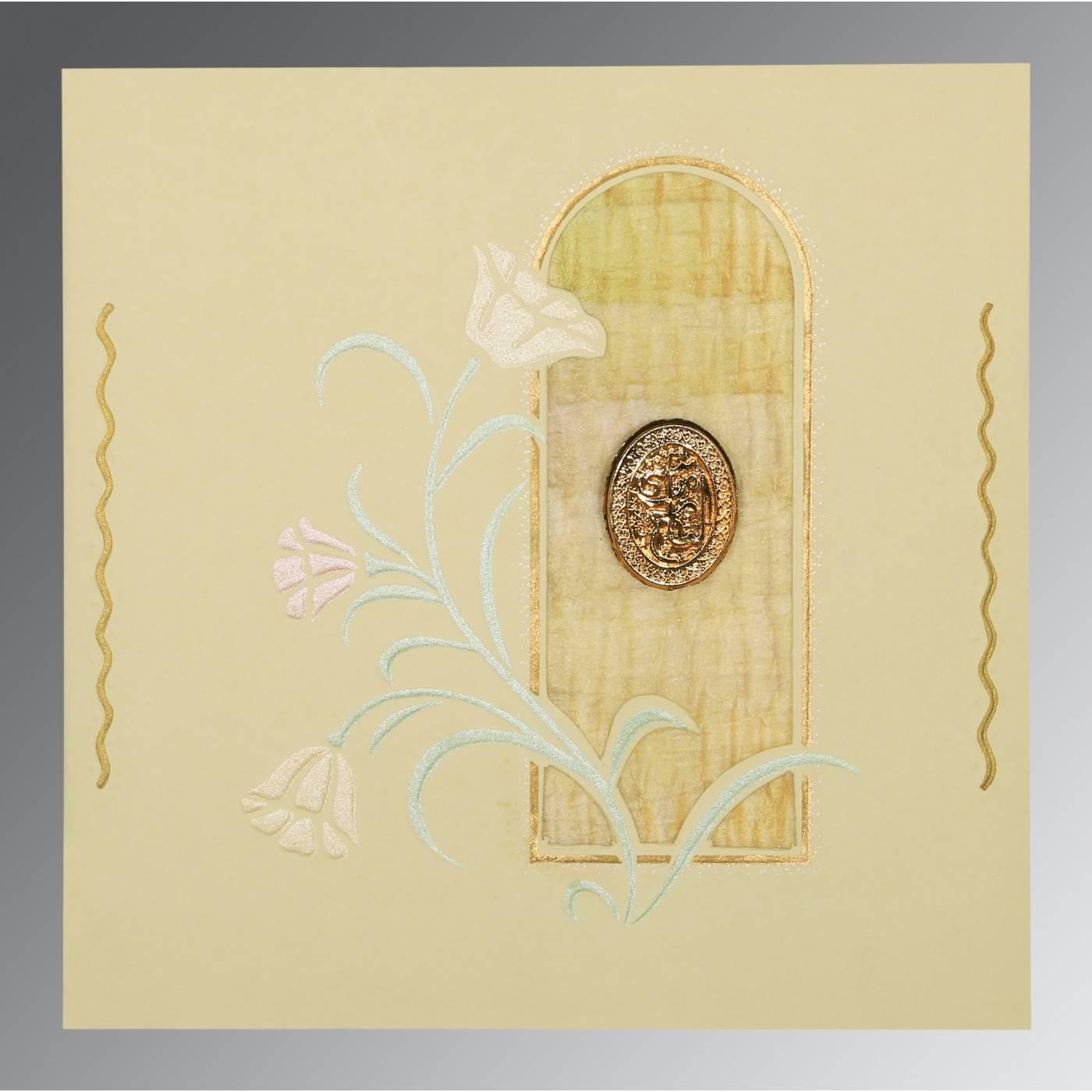 CREAM MATTE EMBOSSED WEDDING CARD : CI-1203 - IndianWeddingCards