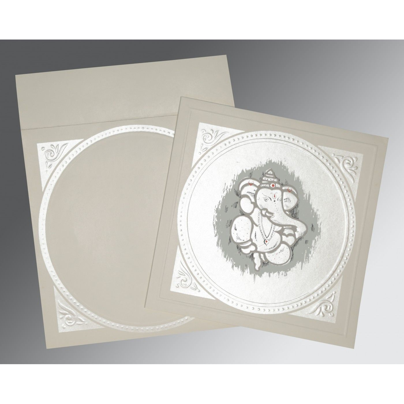 PALE SILVER MATTE EMBOSSED WEDDING CARD : CIN-2015 - IndianWeddingCards