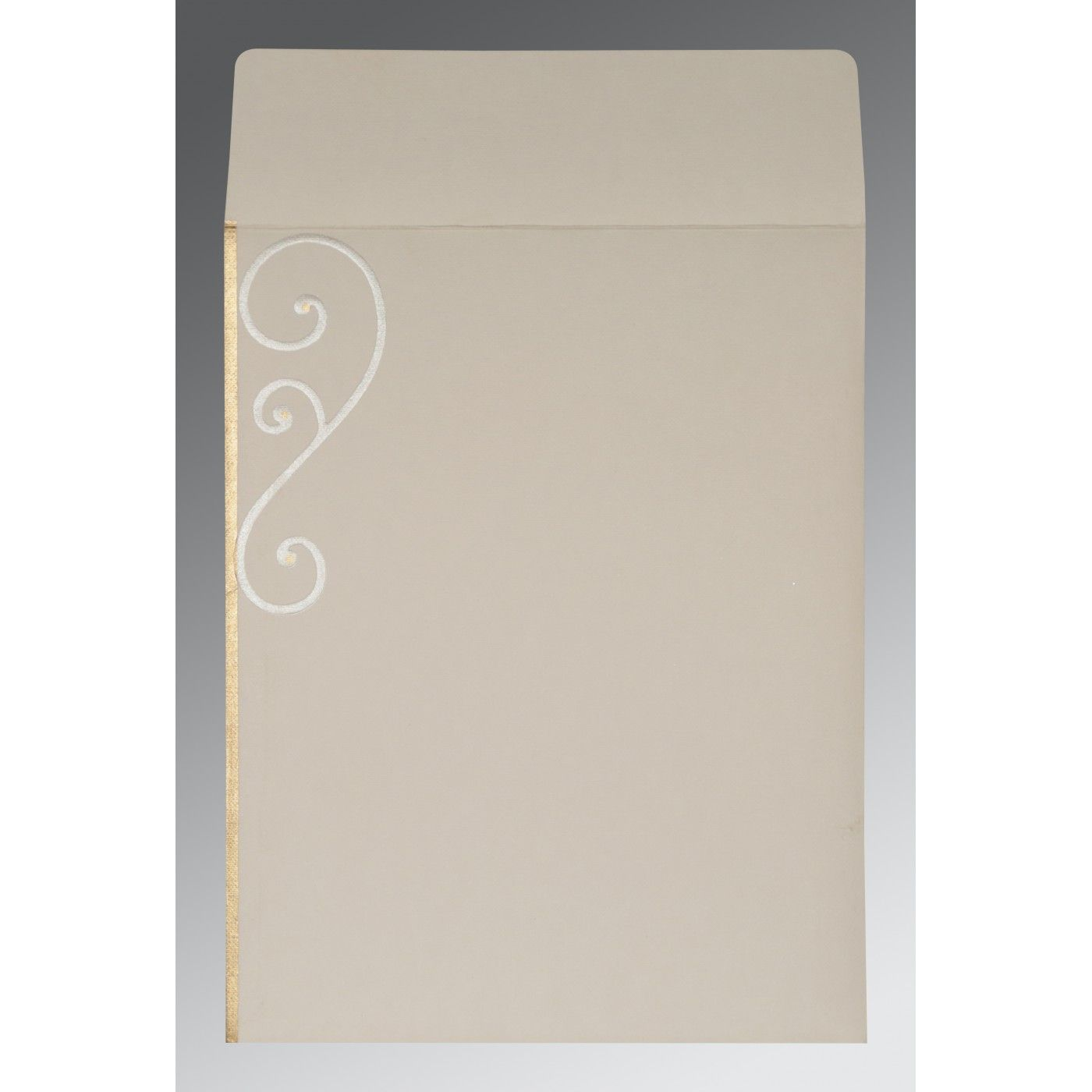 OFF-WHITE MATTE EMBOSSED WEDDING INVITATION : CIN-2116 - IndianWeddingCards