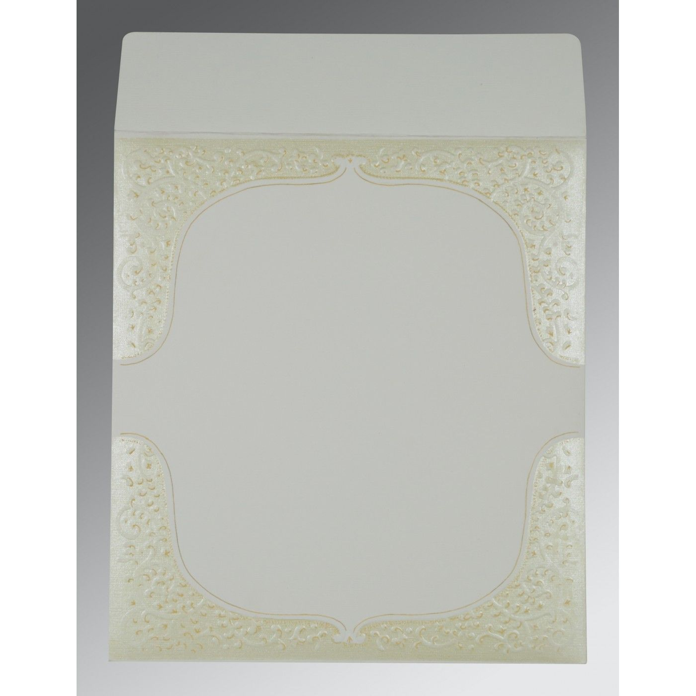OFF-WHITE MATTE EMBOSSED WEDDING CARD : CS-1153 - IndianWeddingCards