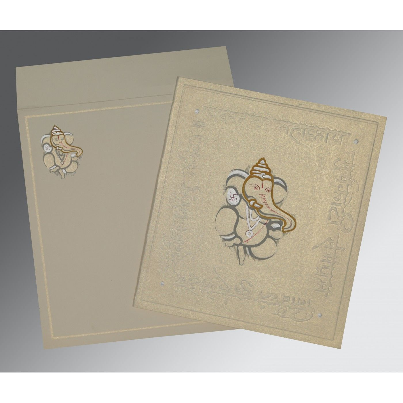 OFF-WHITE MATTE EMBOSSED WEDDING INVITATION : CW-2068 - IndianWeddingCards