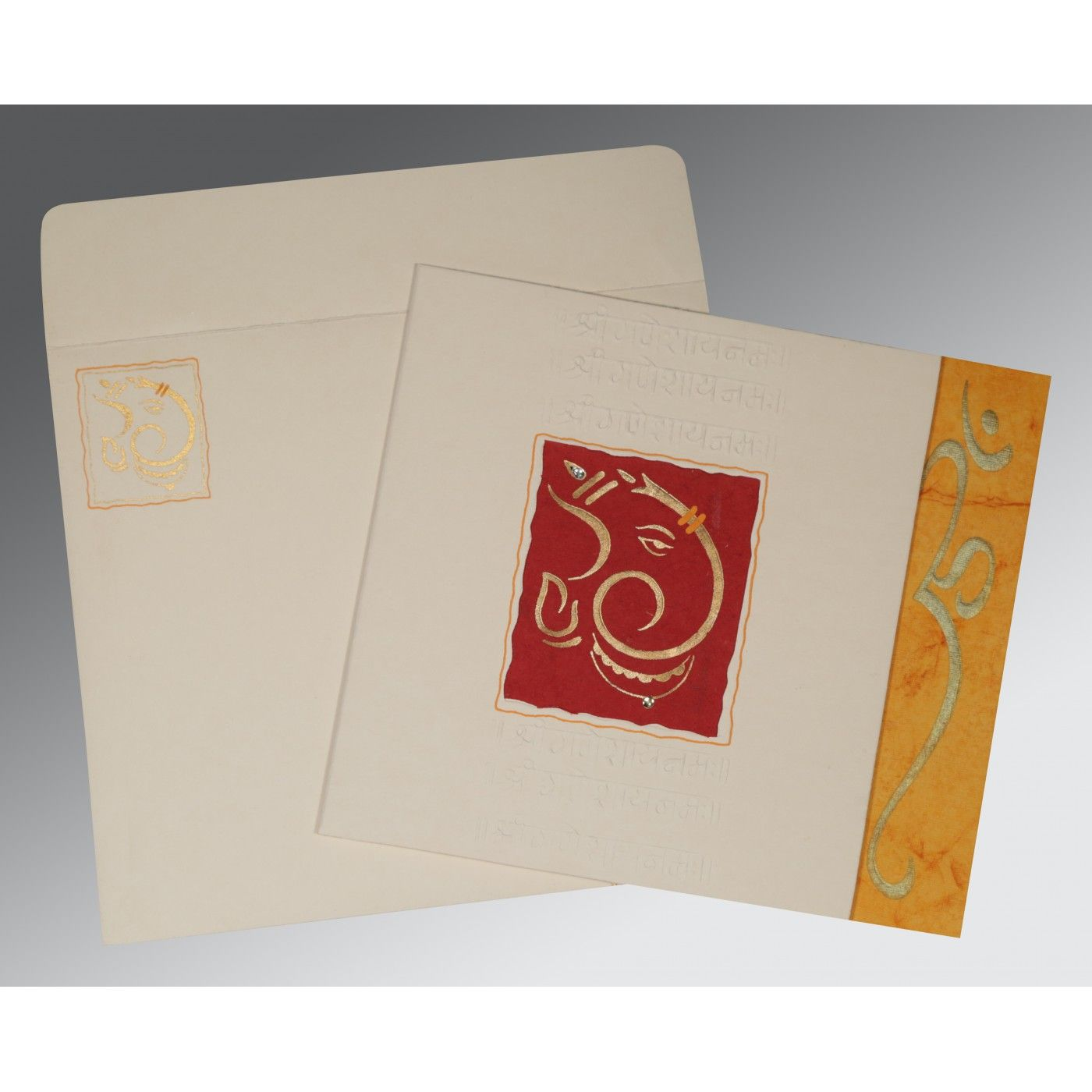 OFF-WHITE MATTE EMBOSSED WEDDING INVITATION : CW-2115 - IndianWeddingCards