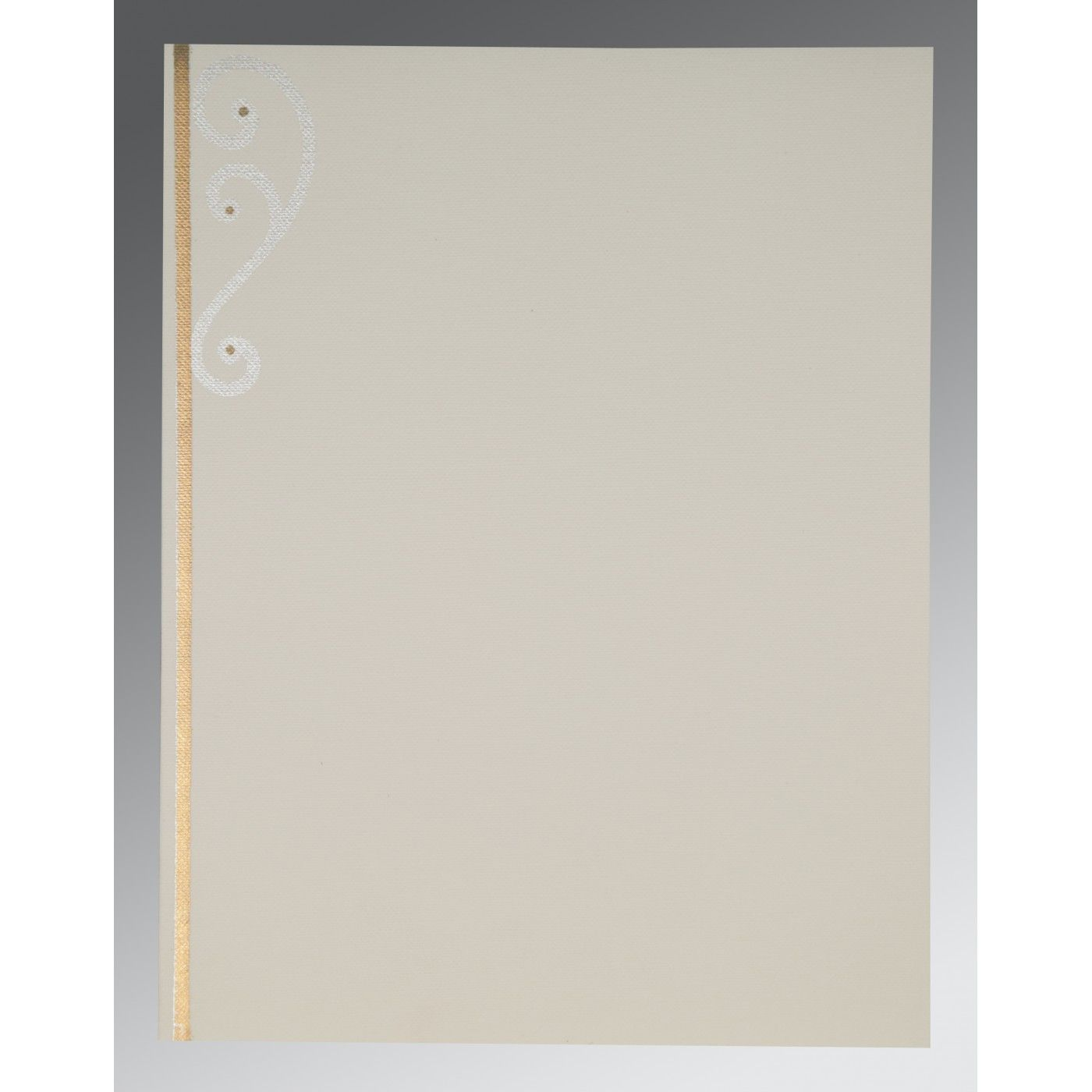 OFF-WHITE MATTE EMBOSSED WEDDING INVITATION : CW-2116 - IndianWeddingCards