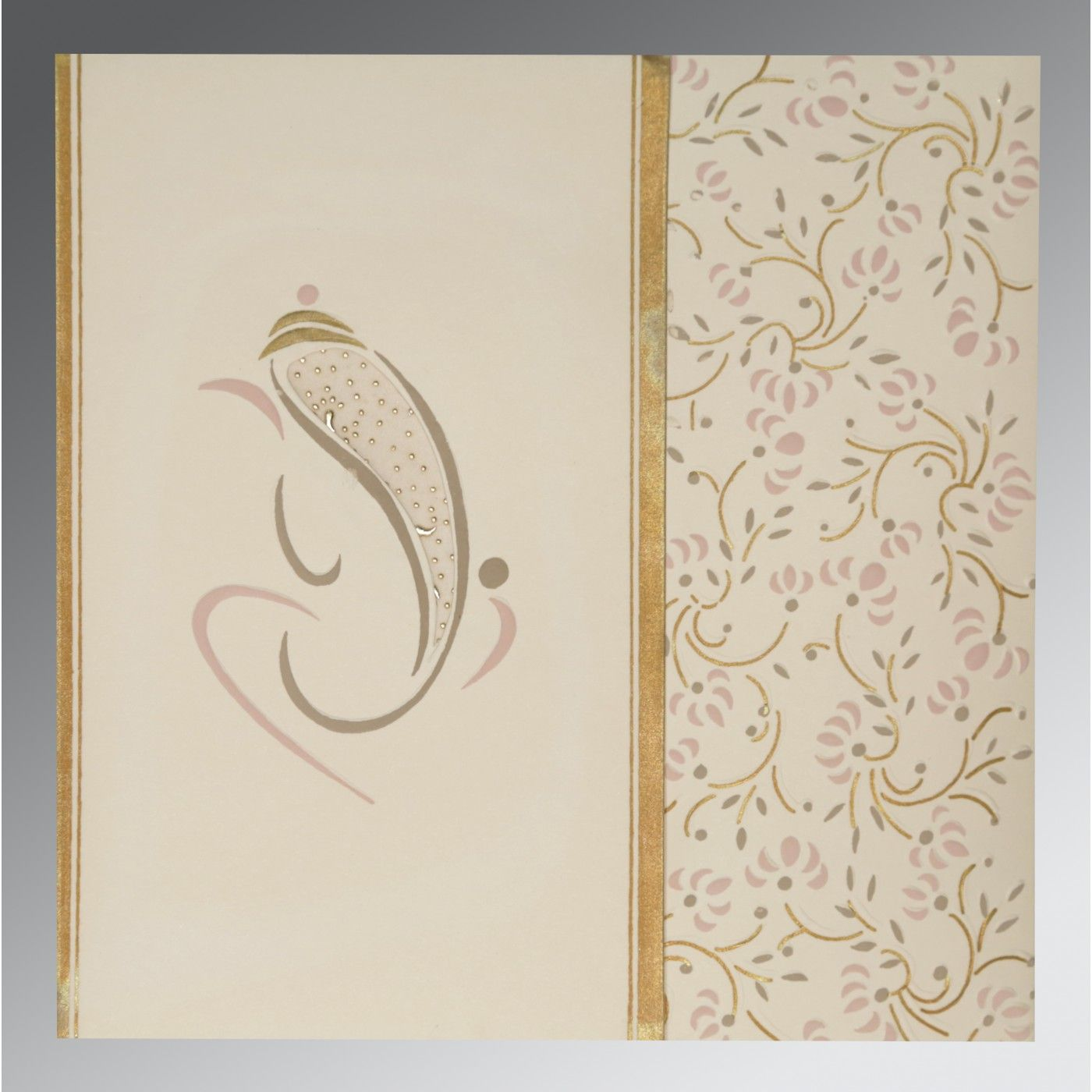 OFF-WHITE MATTE EMBOSSED WEDDING INVITATION : CW-2153 - IndianWeddingCards