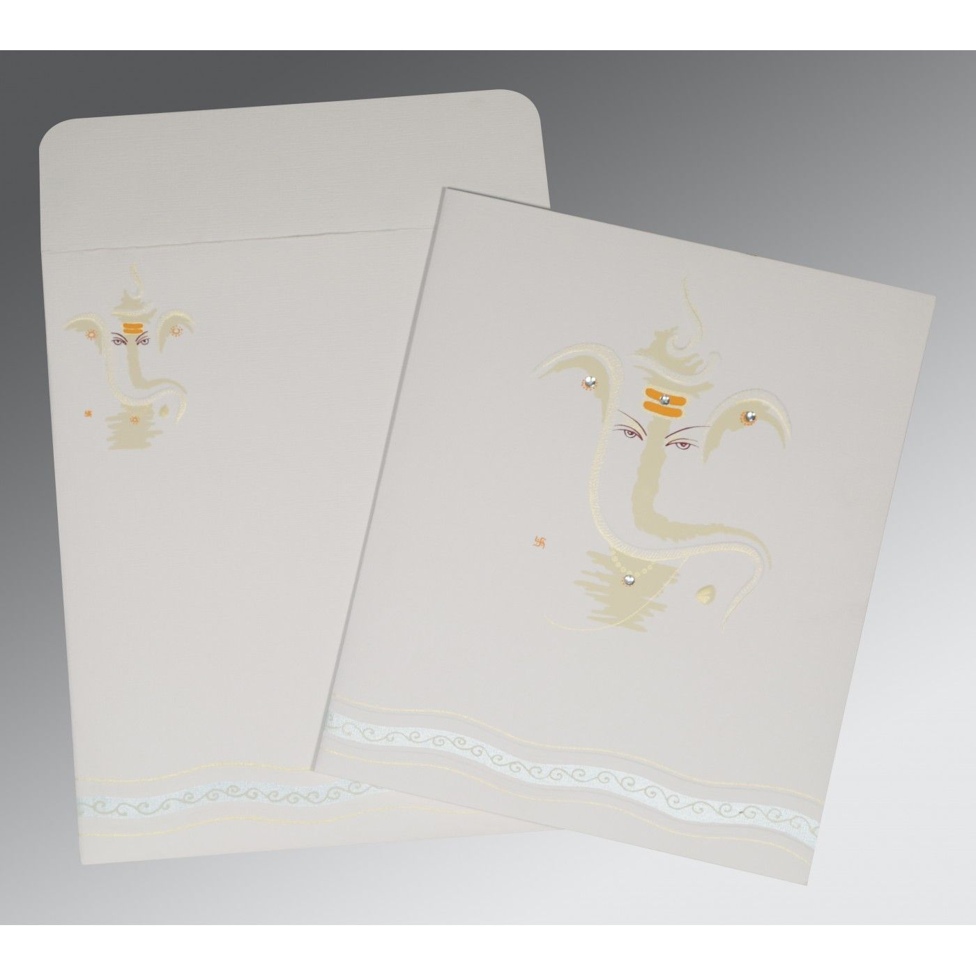 OFF-WHITE MATTE EMBOSSED WEDDING CARD : CW-2169 - IndianWeddingCards