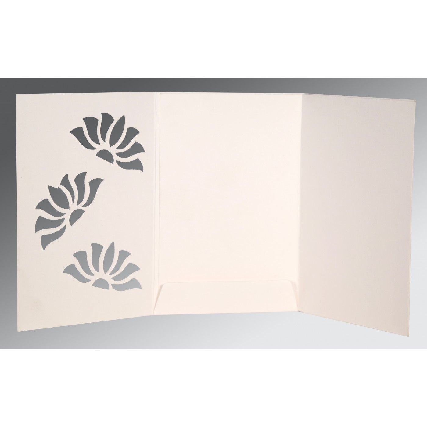 OFF-WHITE MATTE FLORAL THEMED - SCREEN PRINTED WEDDING INVITATION : CRU-1254 - IndianWeddingCards