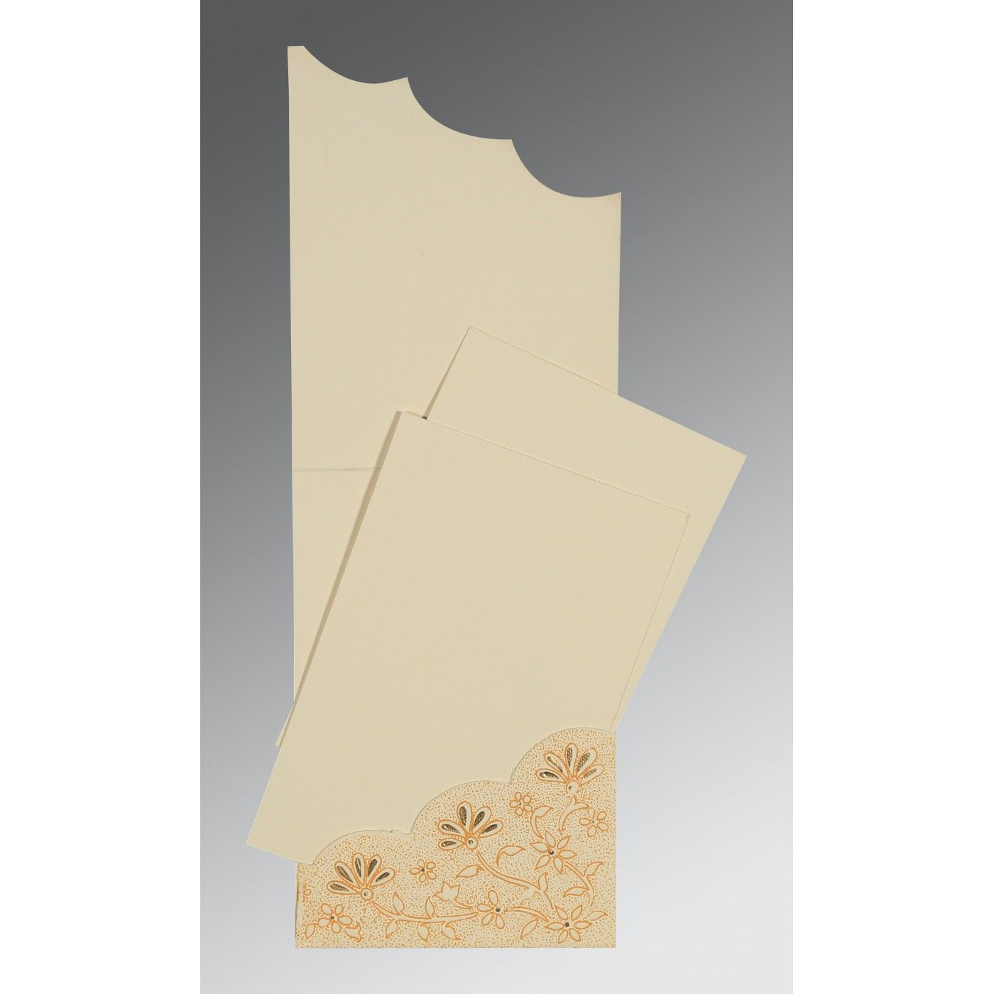 BEIGE MATTE FLORAL THEMED - SCREEN PRINTED WEDDING CARD : CSO-1183 - IndianWeddingCards