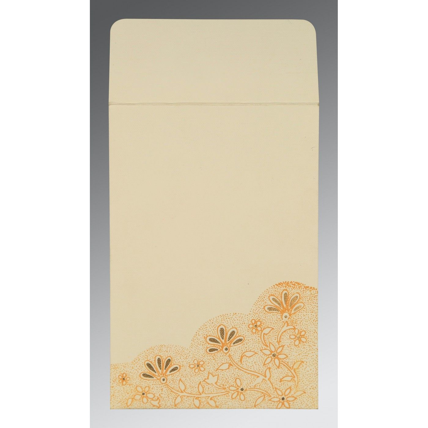 BEIGE MATTE FLORAL THEMED - SCREEN PRINTED WEDDING CARD : CW-1183 - IndianWeddingCards