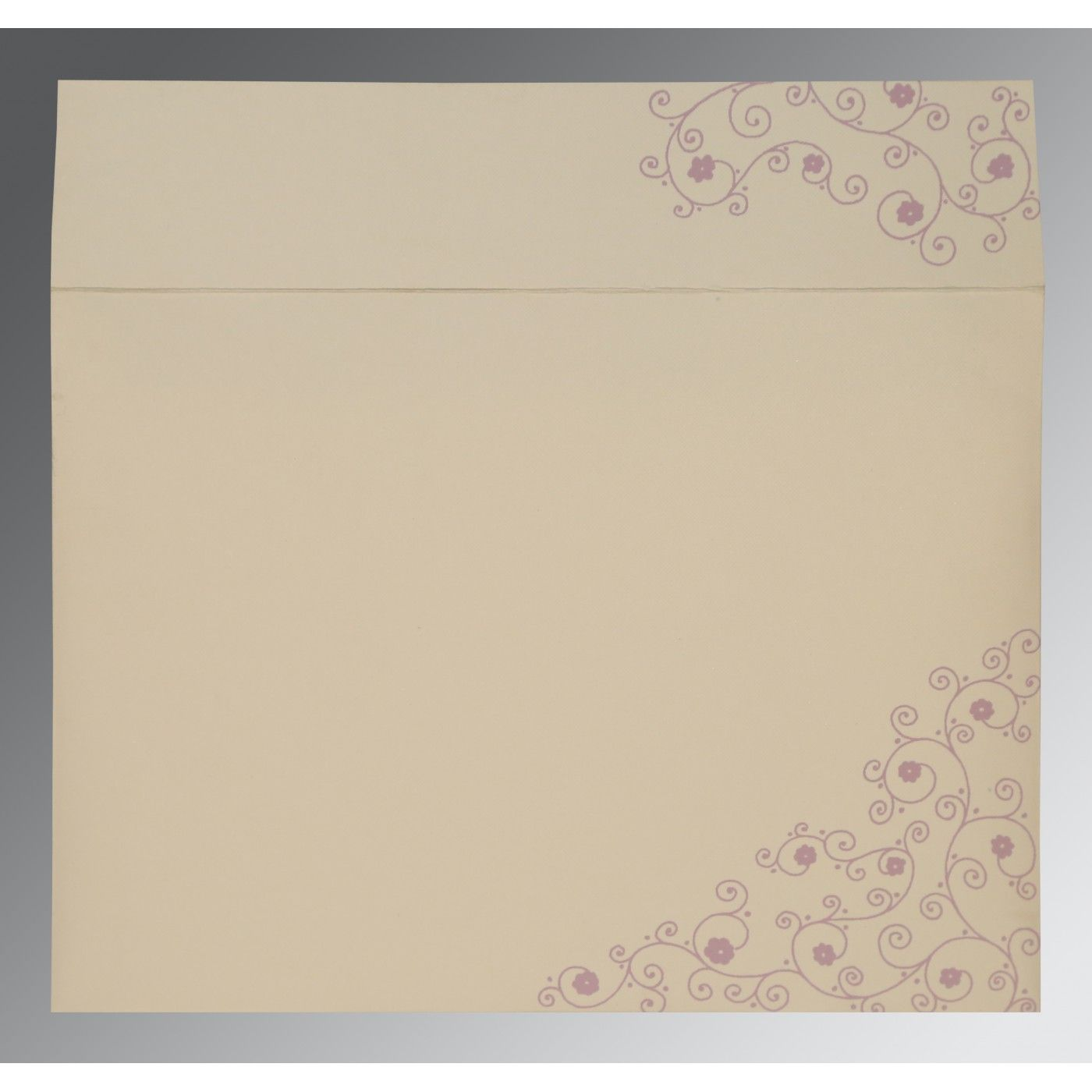 IVORY PURPLE MATTE FLORAL THEMED - SCREEN PRINTED WEDDING CARD : CW-1431 - IndianWeddingCards