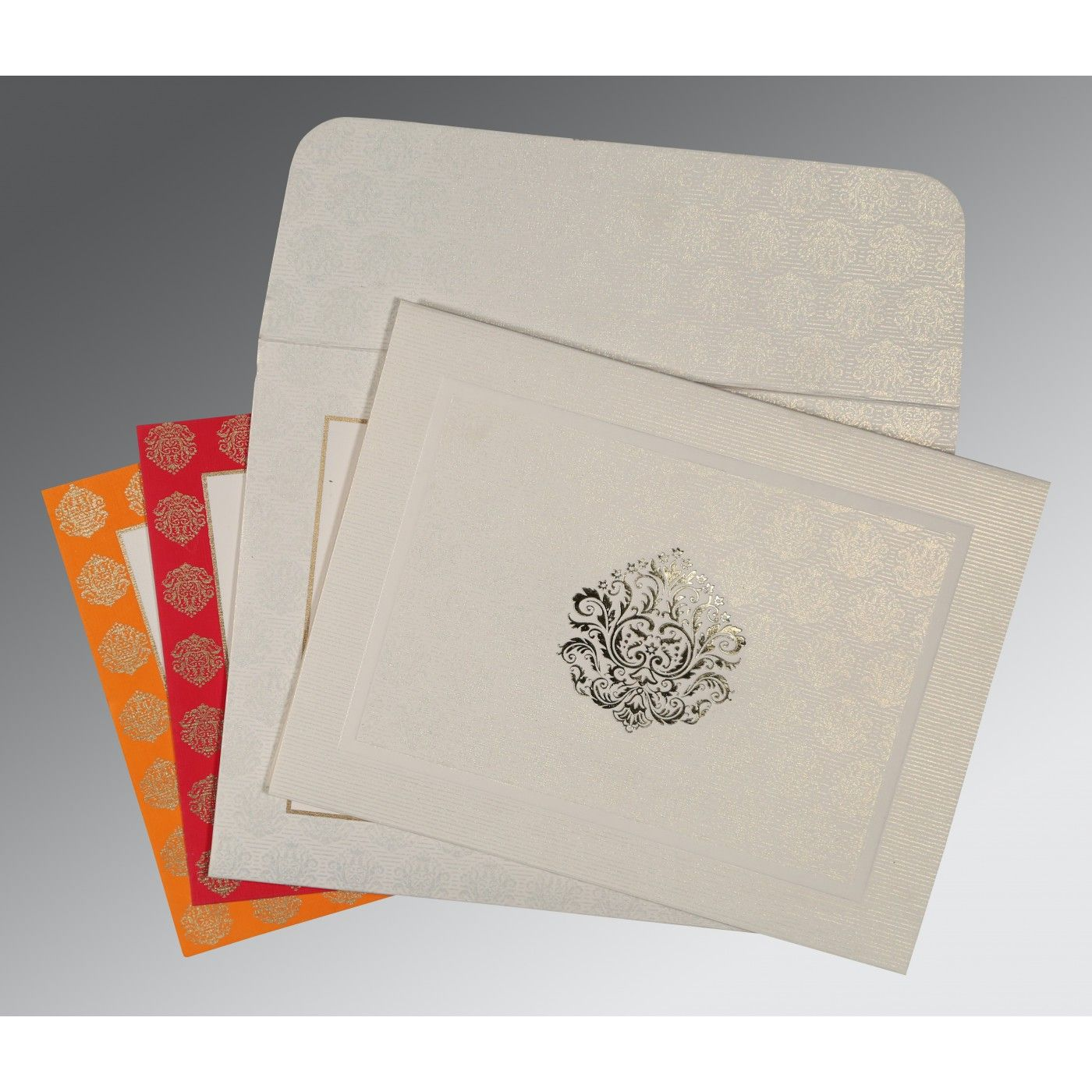 WHITE MATTE FOIL STAMPED WEDDING CARD : CD-1502 - IndianWeddingCards