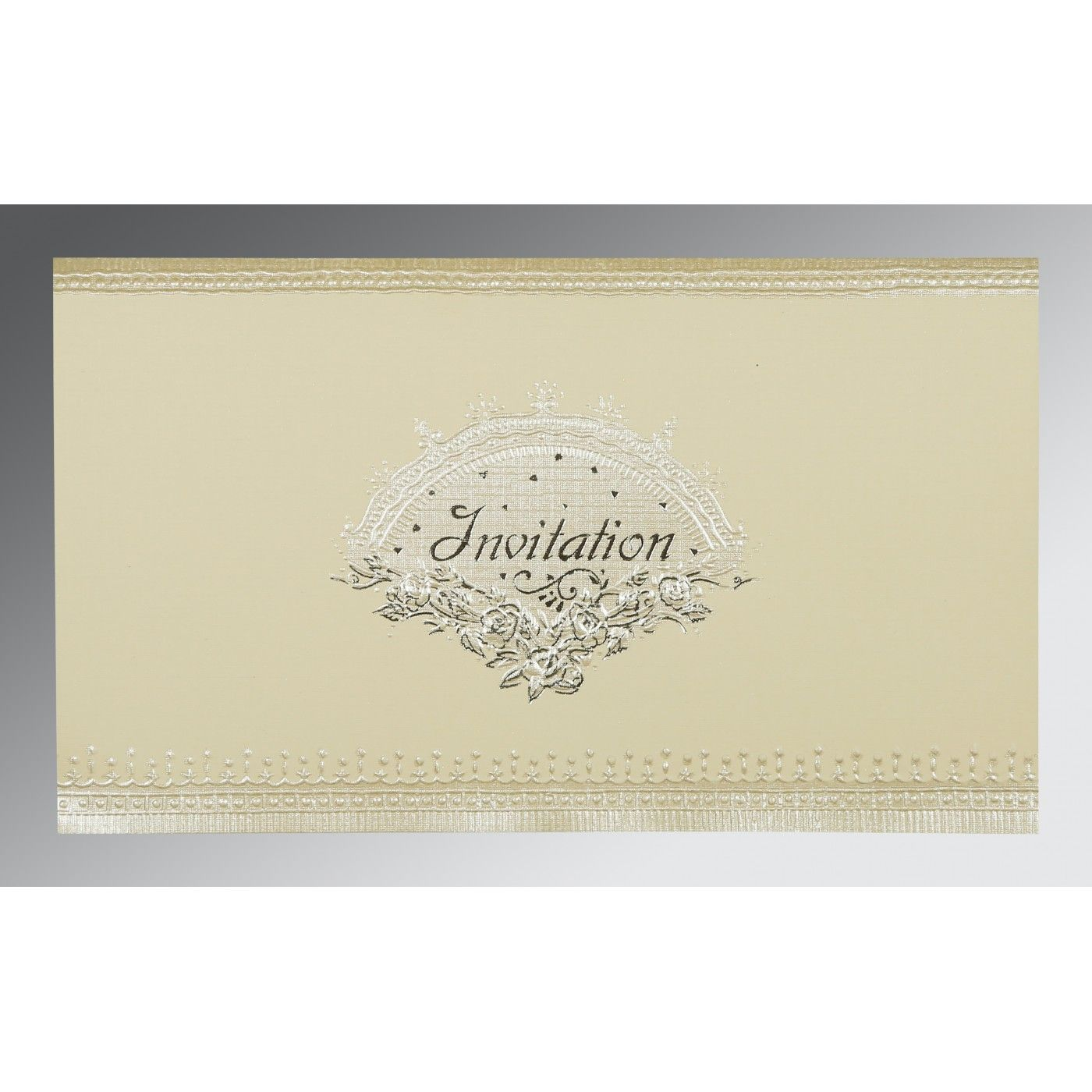 OFF-WHITE MATTE FOIL STAMPED WEDDING INVITATION : CG-1338 - IndianWeddingCards