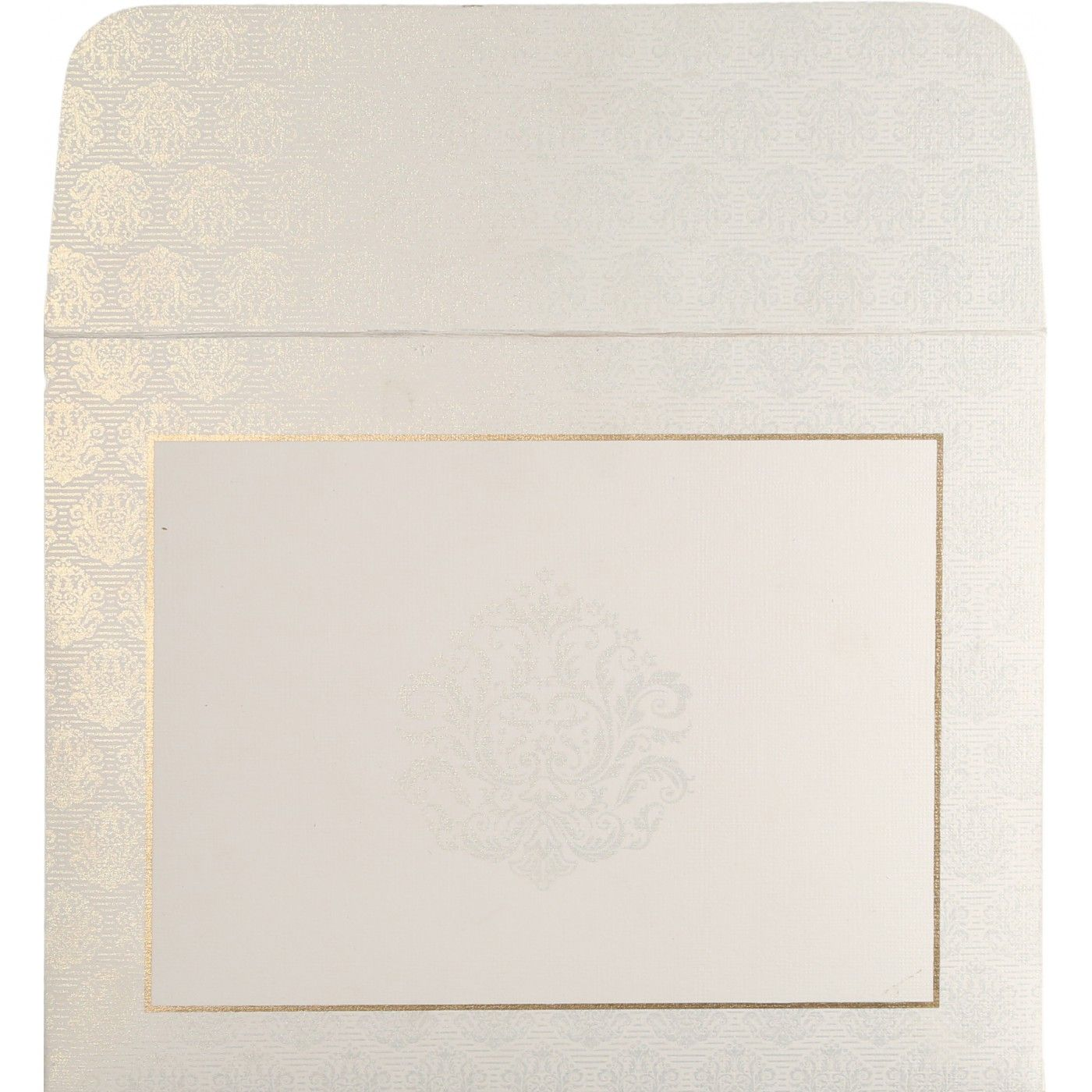 WHITE MATTE FOIL STAMPED WEDDING CARD : CIN-1502 - IndianWeddingCards