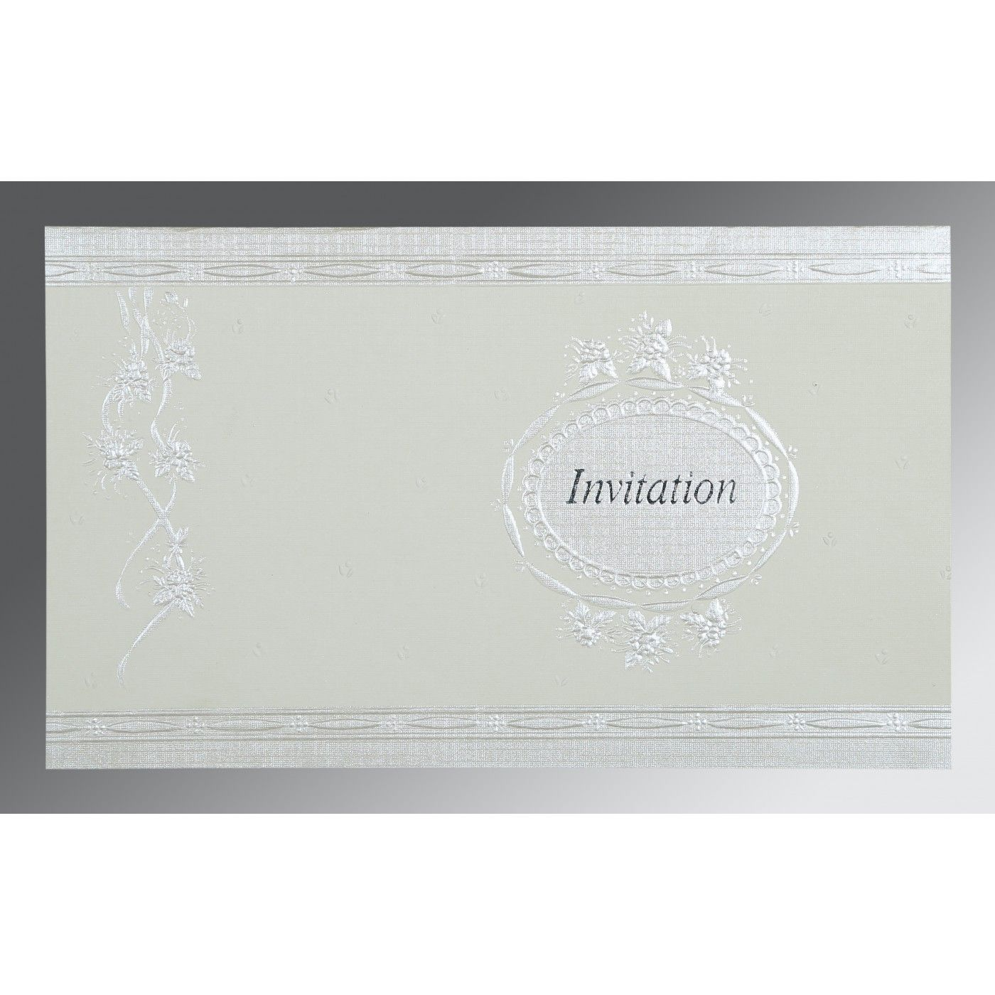 OFF-WHITE MATTE FOIL STAMPED WEDDING CARD : CSO-1328 - IndianWeddingCards
