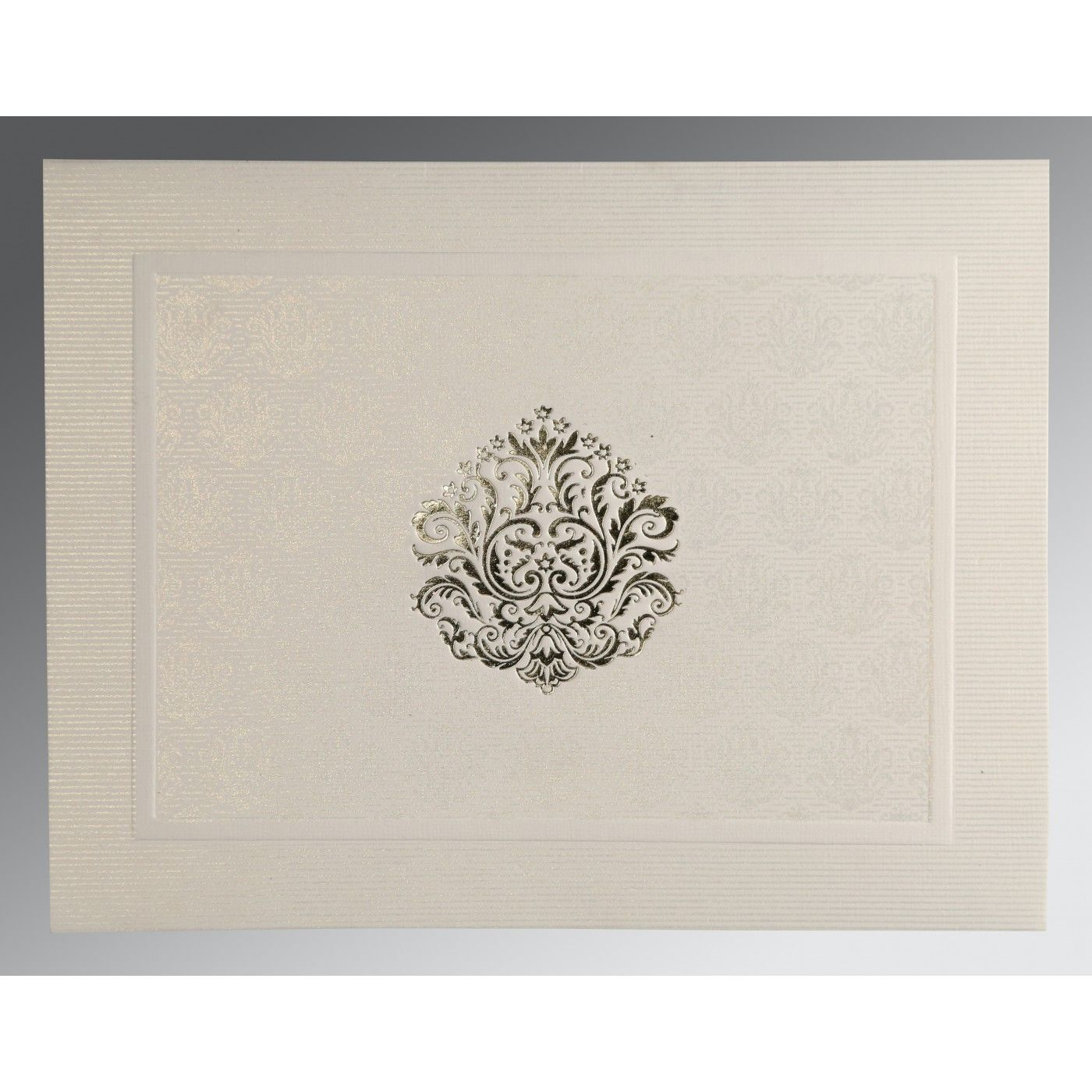 WHITE MATTE FOIL STAMPED WEDDING CARD : CSO-1502 - IndianWeddingCards