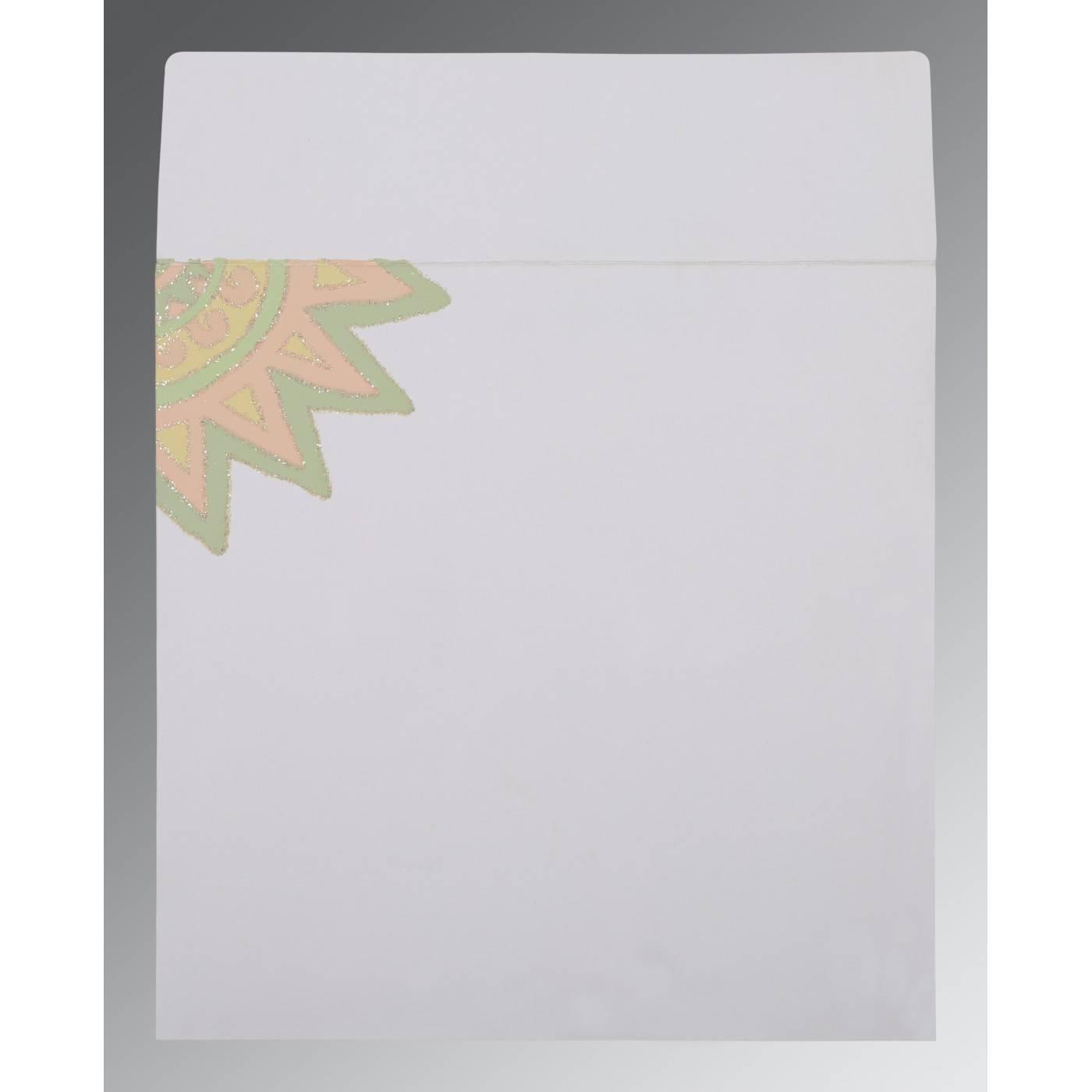 OFF-WHITE MATTE GLITTER WEDDING INVITATION : CRU-1266 - IndianWeddingCards