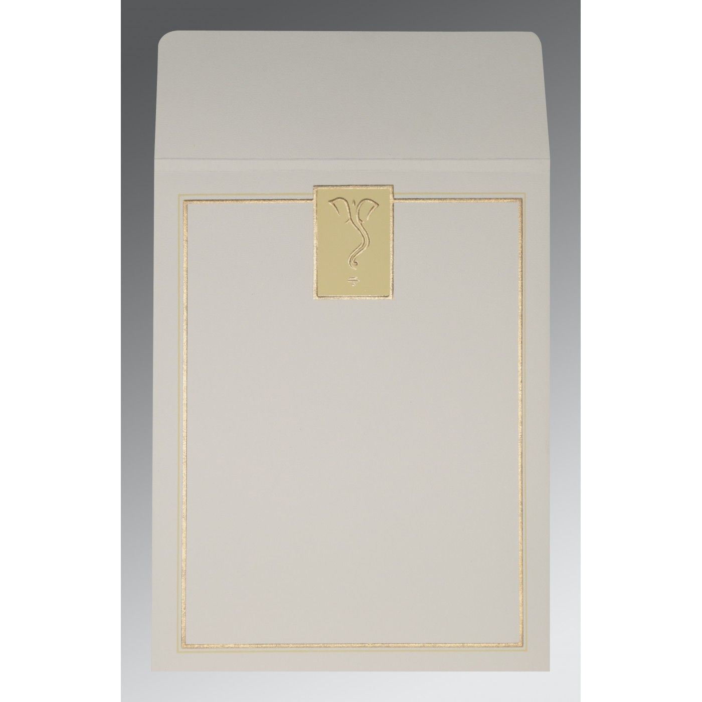 OFF-WHITE MATTE GLITTER WEDDING CARD : CW-2103 - IndianWeddingCards