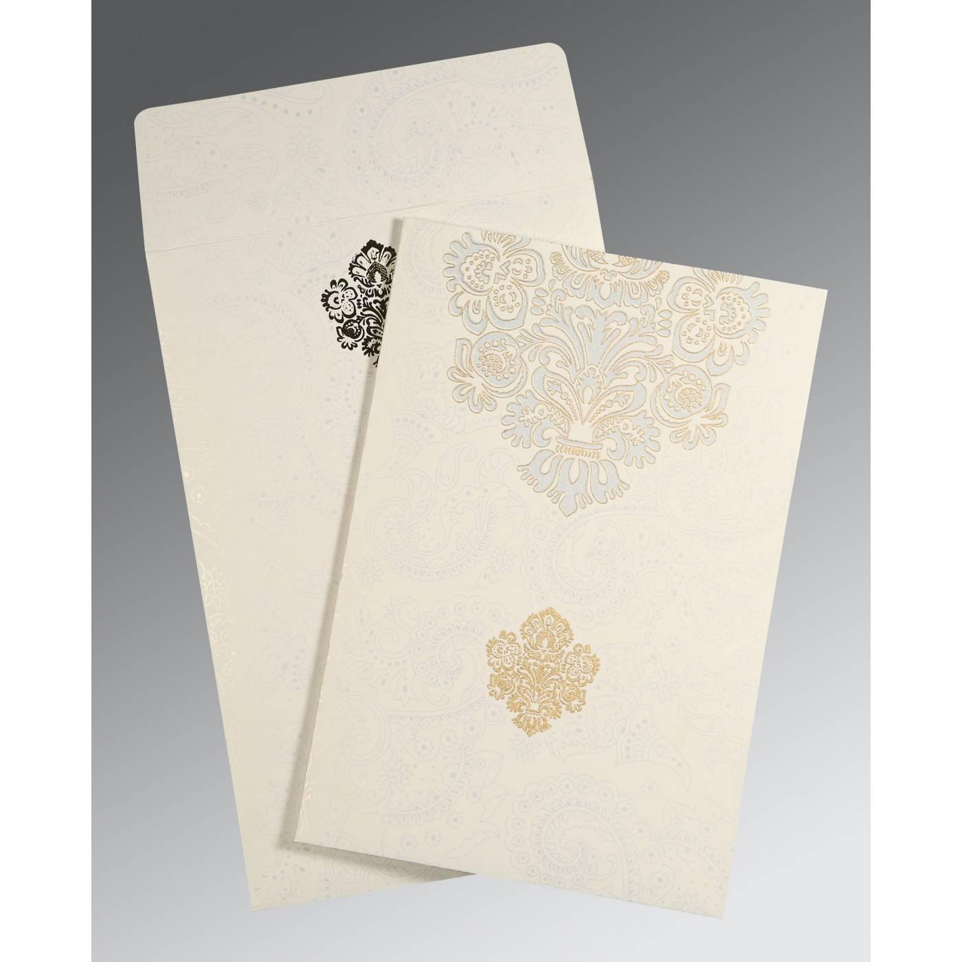 WHITE MATTE PAISLEY THEMED - SCREEN PRINTED WEDDING INVITATION : CSO-1508 - IndianWeddingCards