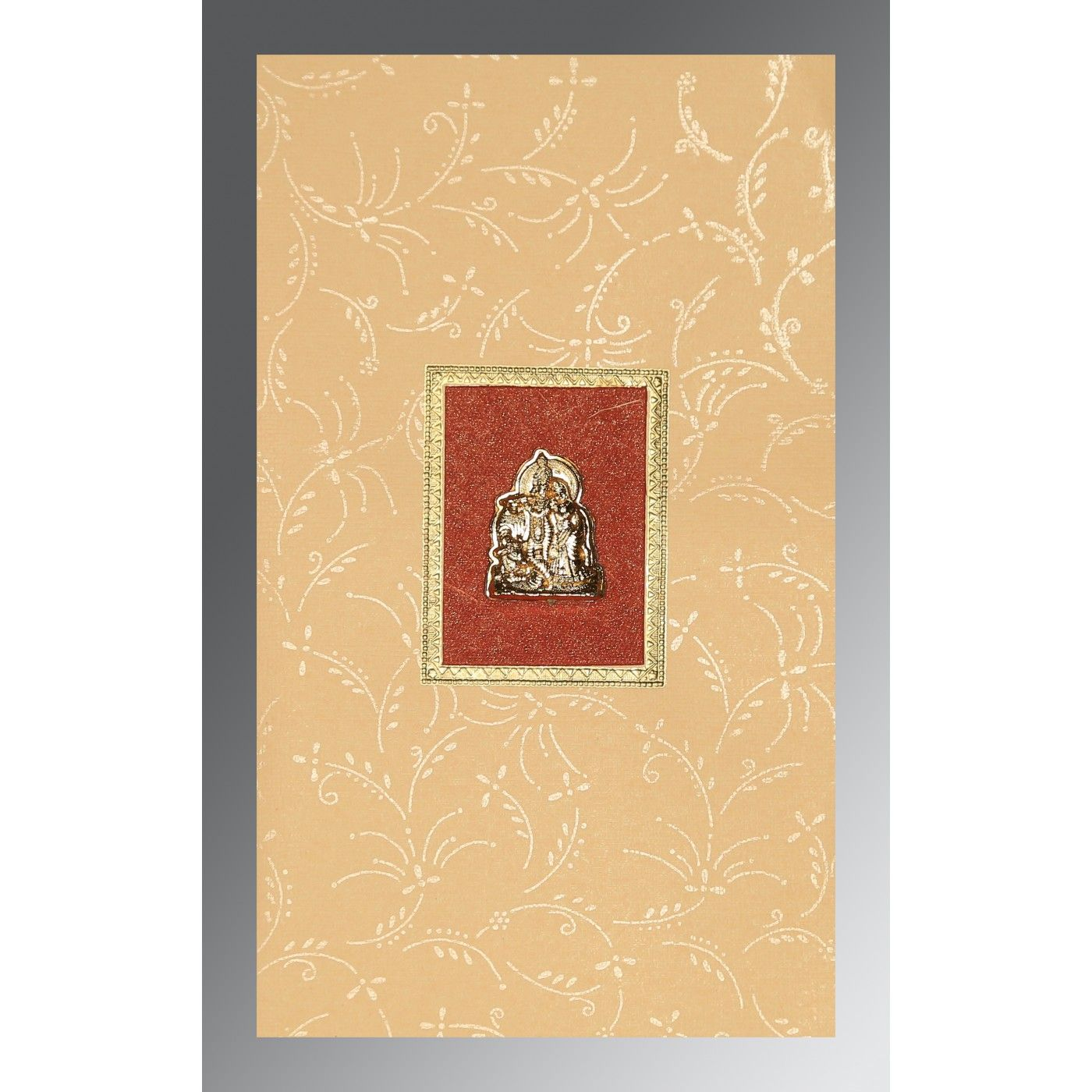 BEIGE MATTE SCREEN PRINTED WEDDING CARD : CG-1303 - IndianWeddingCards