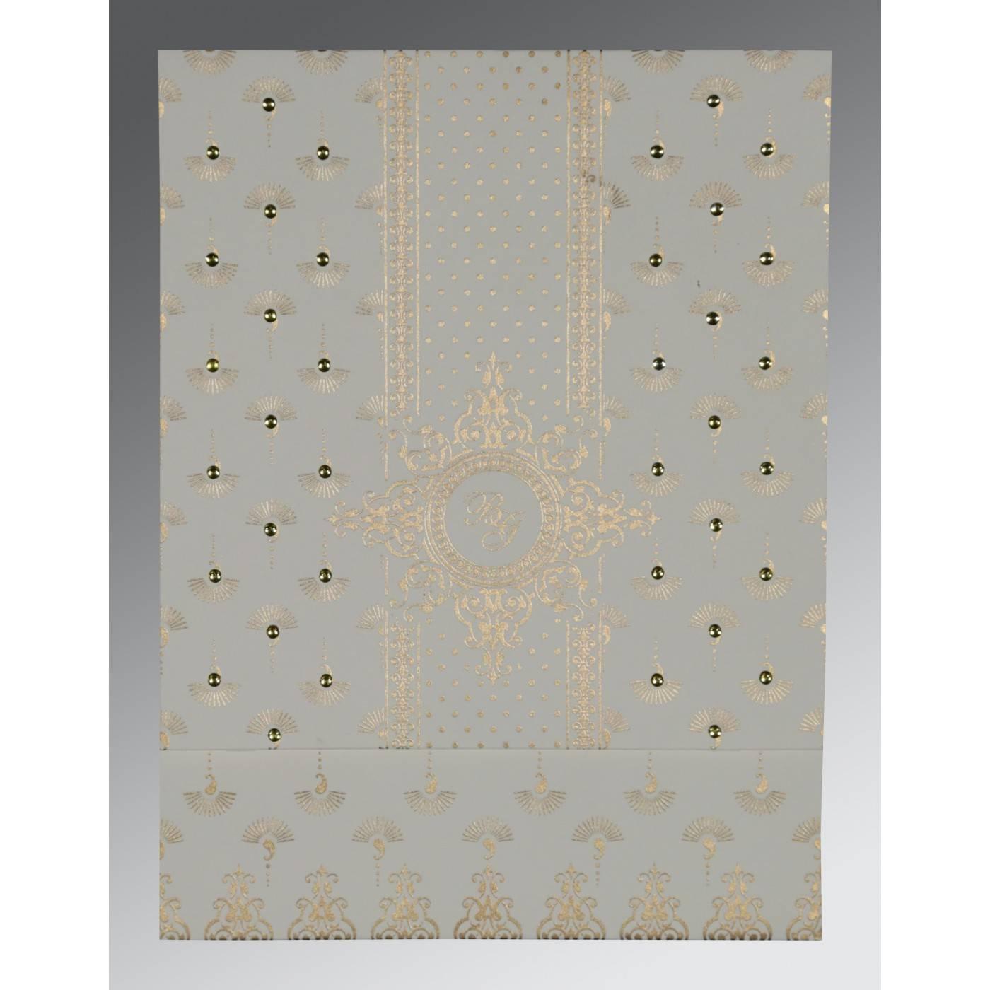 OFF-WHITE MATTE SCREEN PRINTED WEDDING INVITATION : CG-8247M - IndianWeddingCards