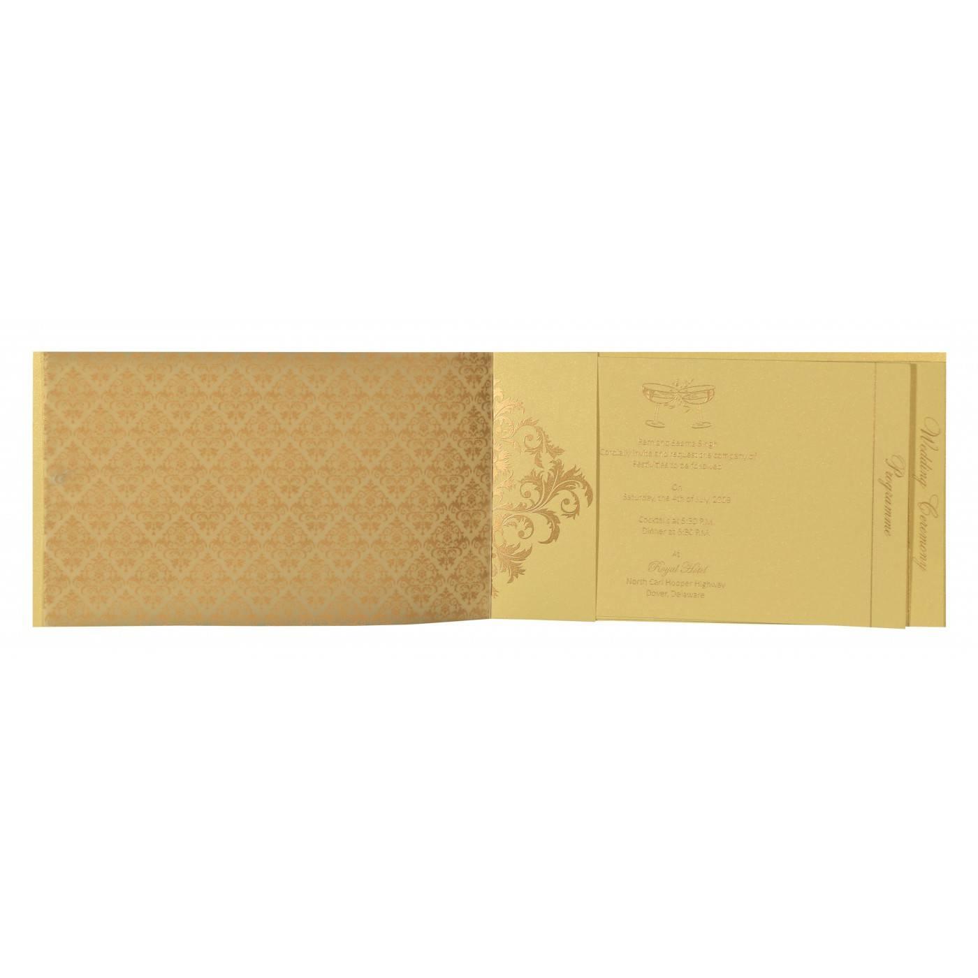 KHAKI SHIMMERY DAMASK THEMED - SCREEN PRINTED WEDDING CARD : CG-8257B - IndianWeddingCards