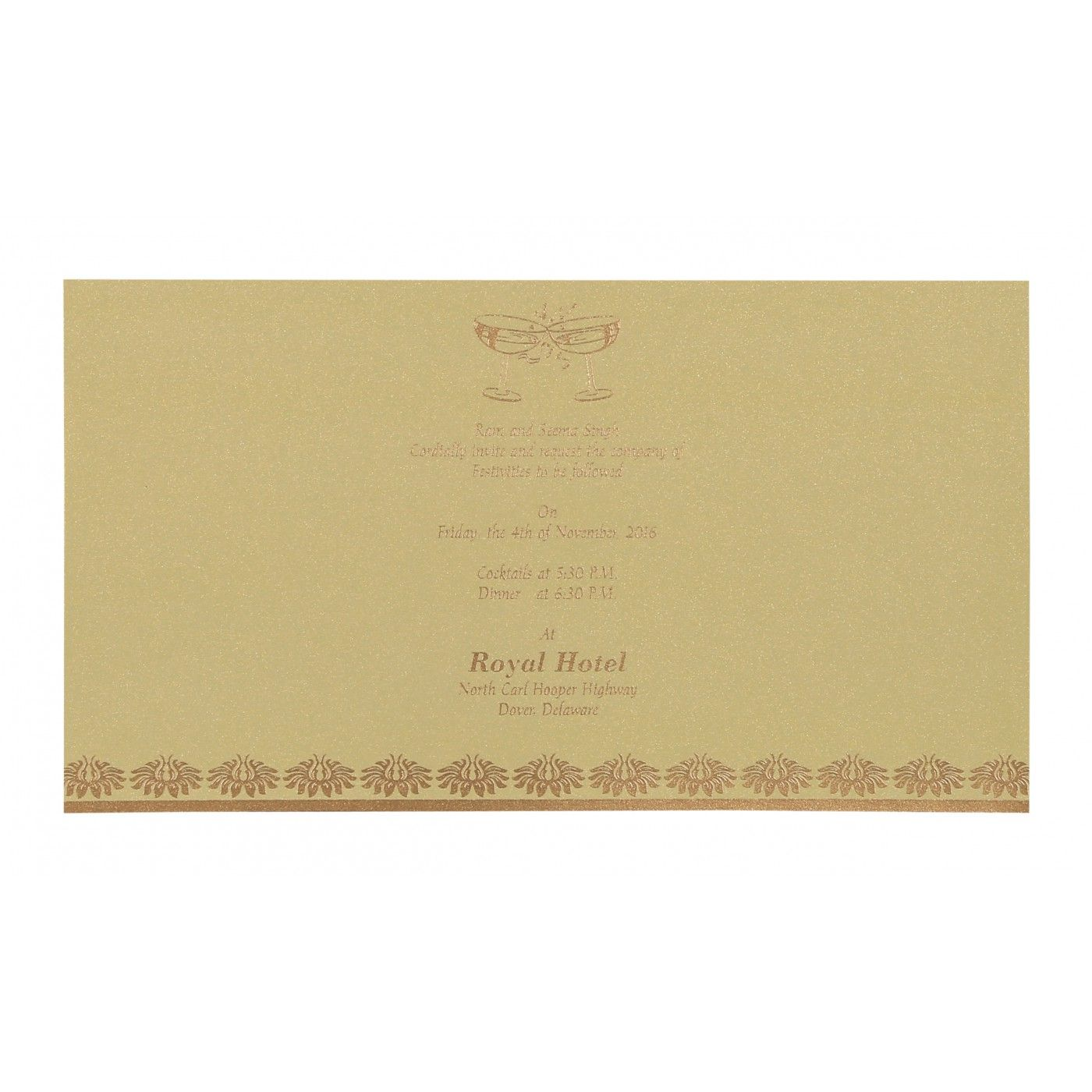 KHAKI SHIMMERY DAMASK THEMED - SCREEN PRINTED WEDDING INVITATION : CG-8261C - IndianWeddingCards