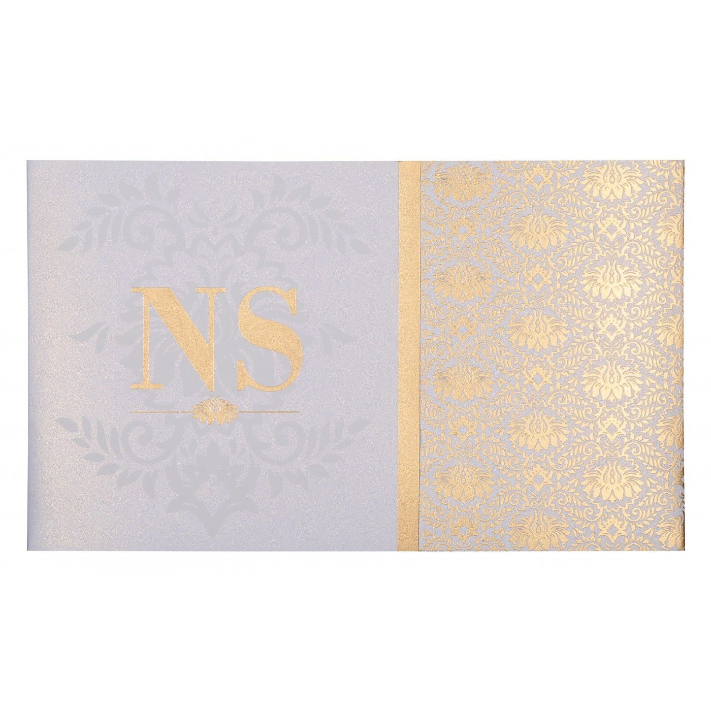 OFF-WHITE SHIMMERY DAMASK THEMED - SCREEN PRINTED WEDDING INVITATION : CG-8261F - IndianWeddingCards
