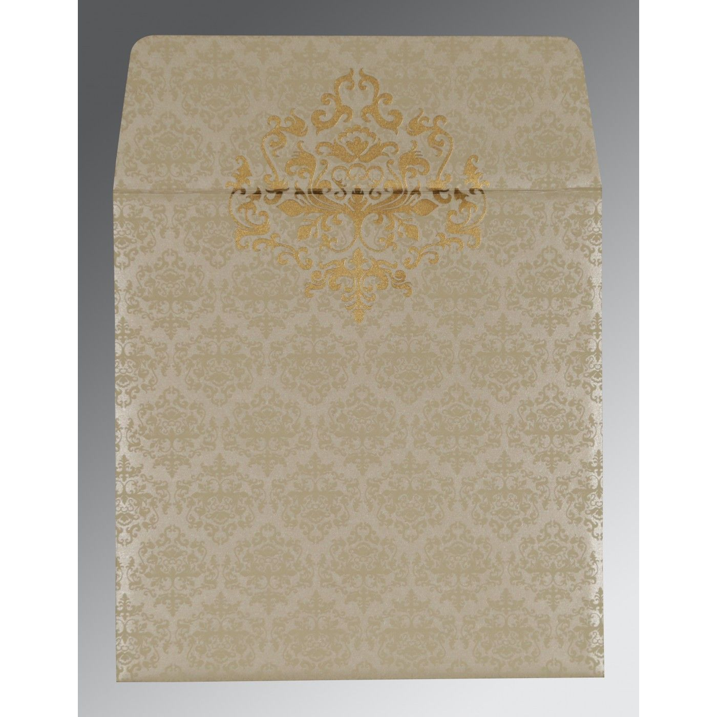 IVORY SHIMMERY DAMASK THEMED - SCREEN PRINTED WEDDING CARD : CRU-8254A - IndianWeddingCards