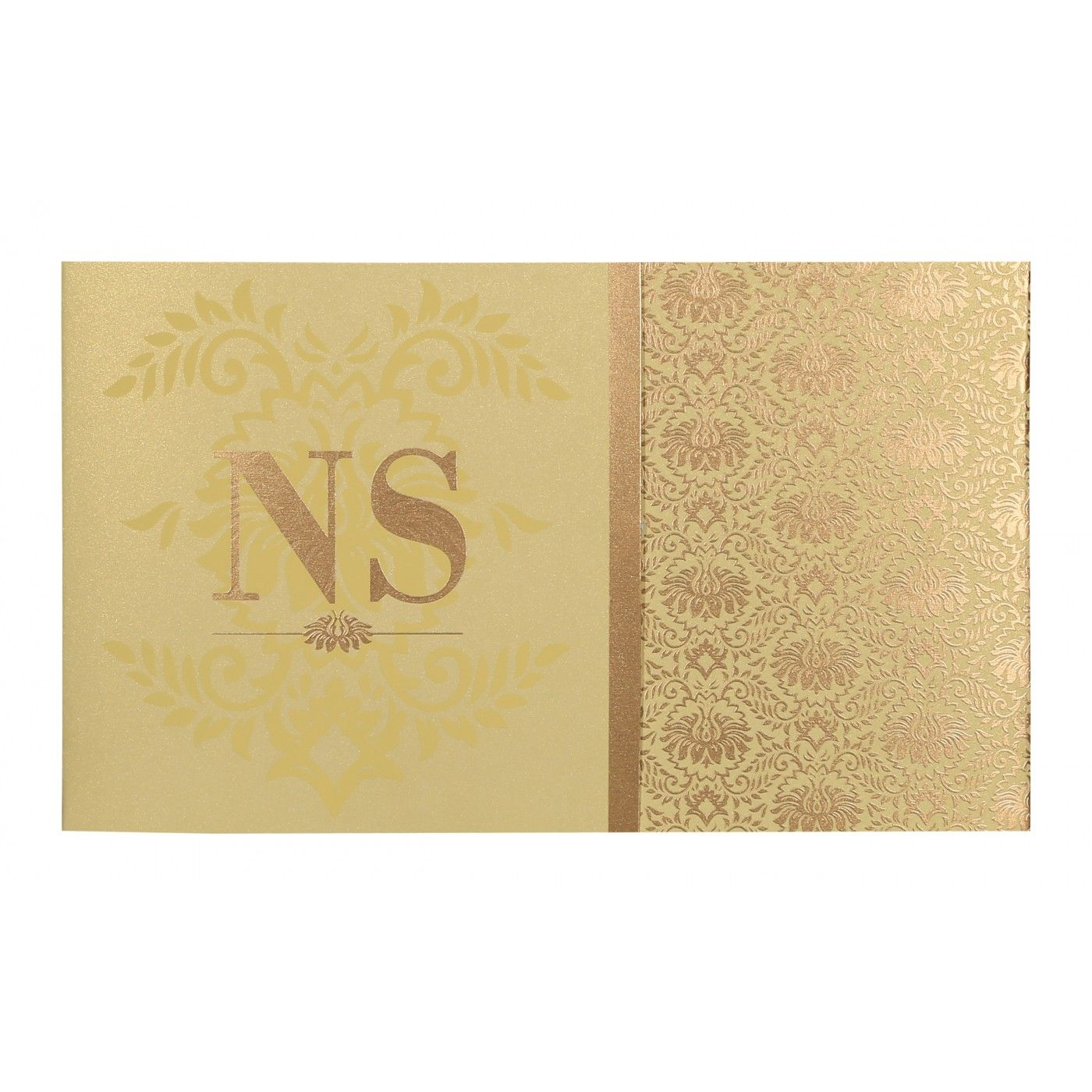 KHAKI SHIMMERY DAMASK THEMED - SCREEN PRINTED WEDDING INVITATION : CS-8261C - IndianWeddingCards