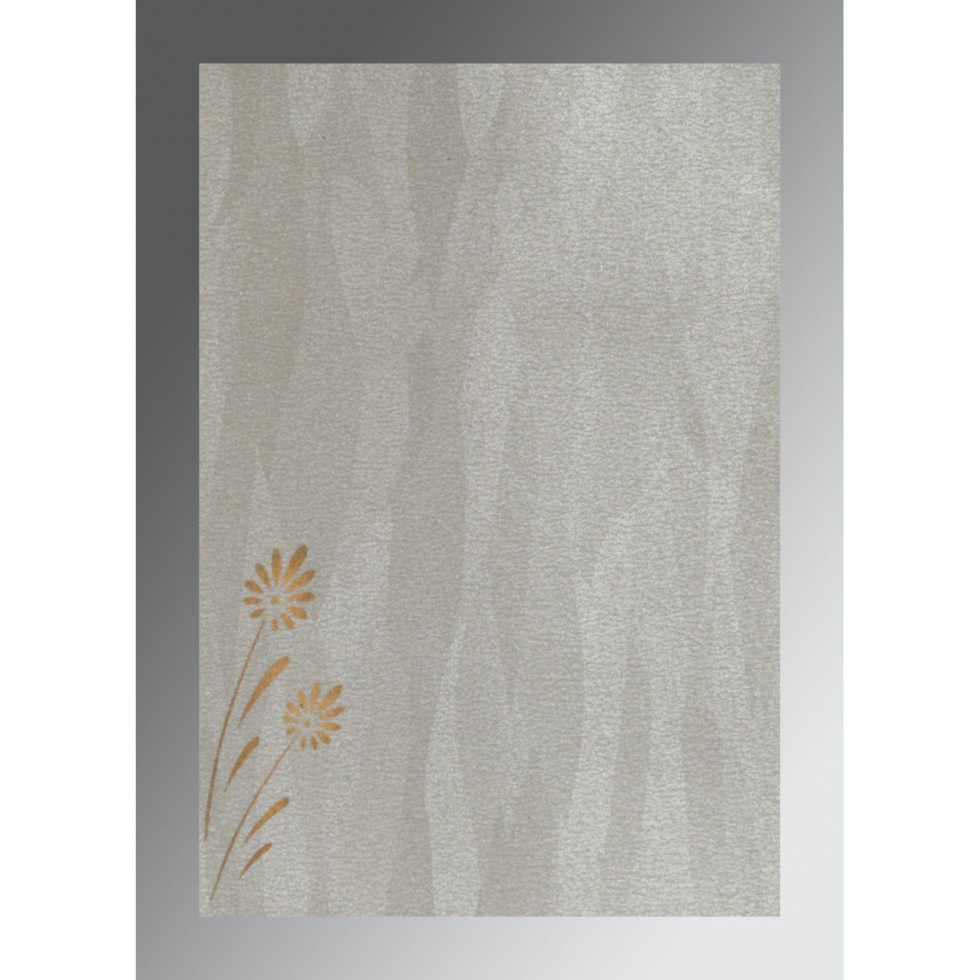 METALLIC GREY SHIMMERY FLORAL THEMED - EMBOSSED WEDDING CARD : CRU-1378 - IndianWeddingCards