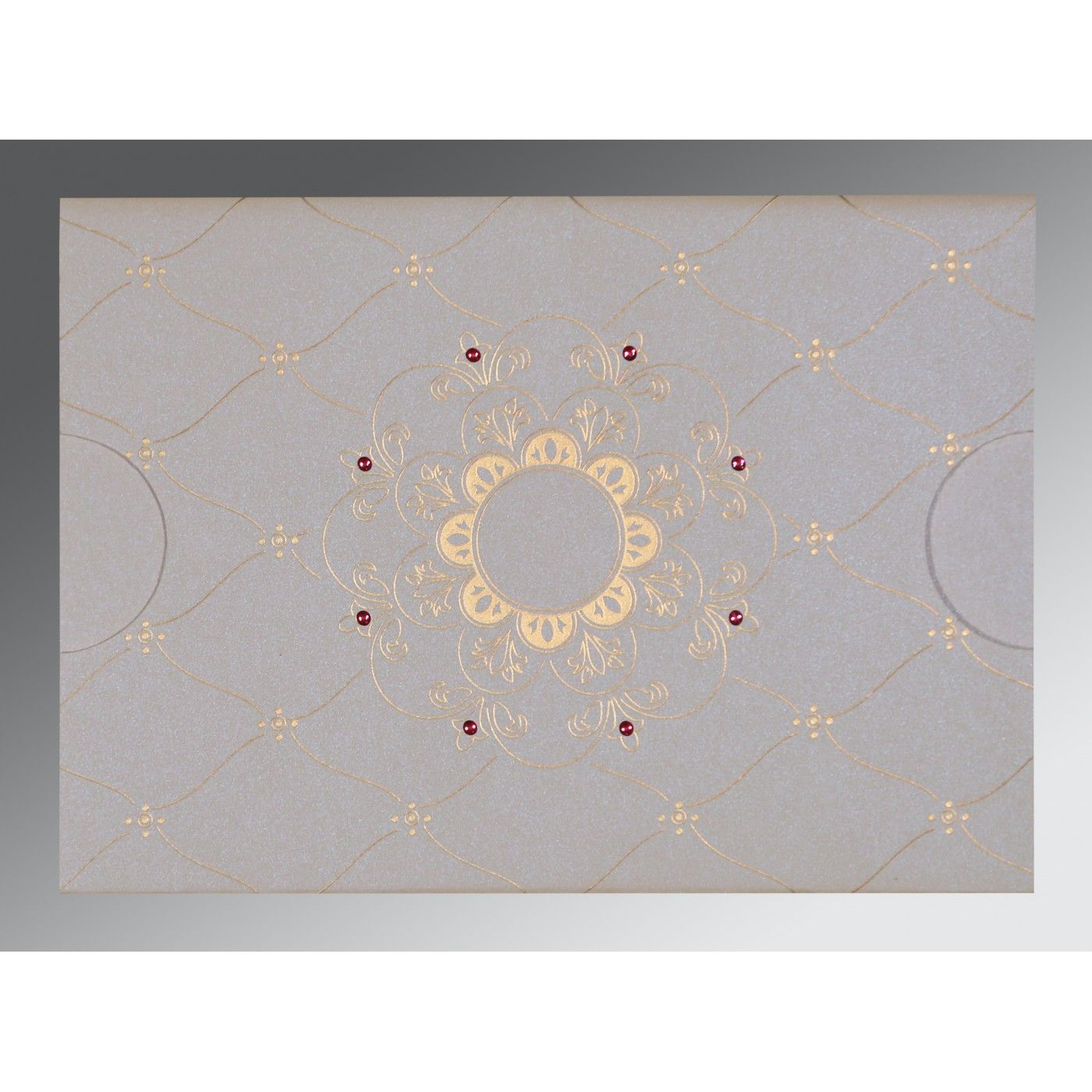 OFF-WHITE PINK SHIMMERY FLORAL THEMED - SCREEN PRINTED WEDDING CARD : CD-8227M - IndianWeddingCards