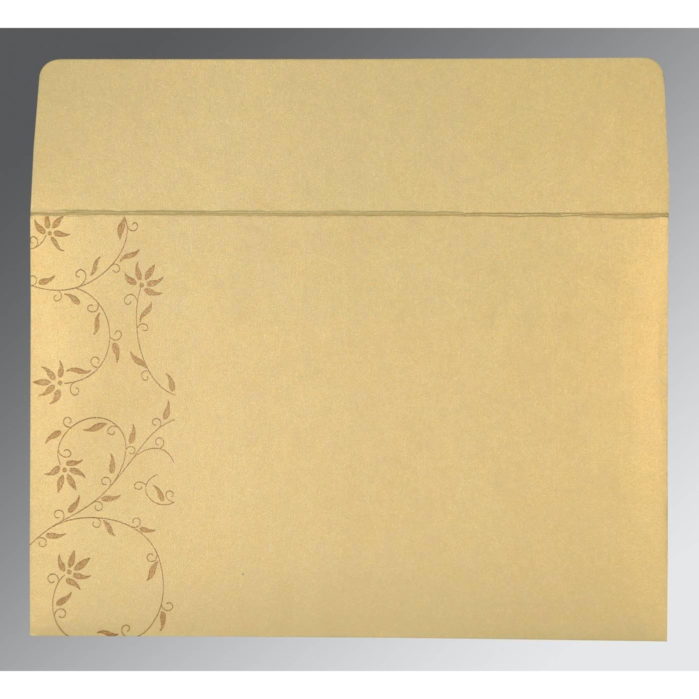 CREAM SHIMMERY FLORAL THEMED - SCREEN PRINTED WEDDING INVITATION : CG-8226S - IndianWeddingCards